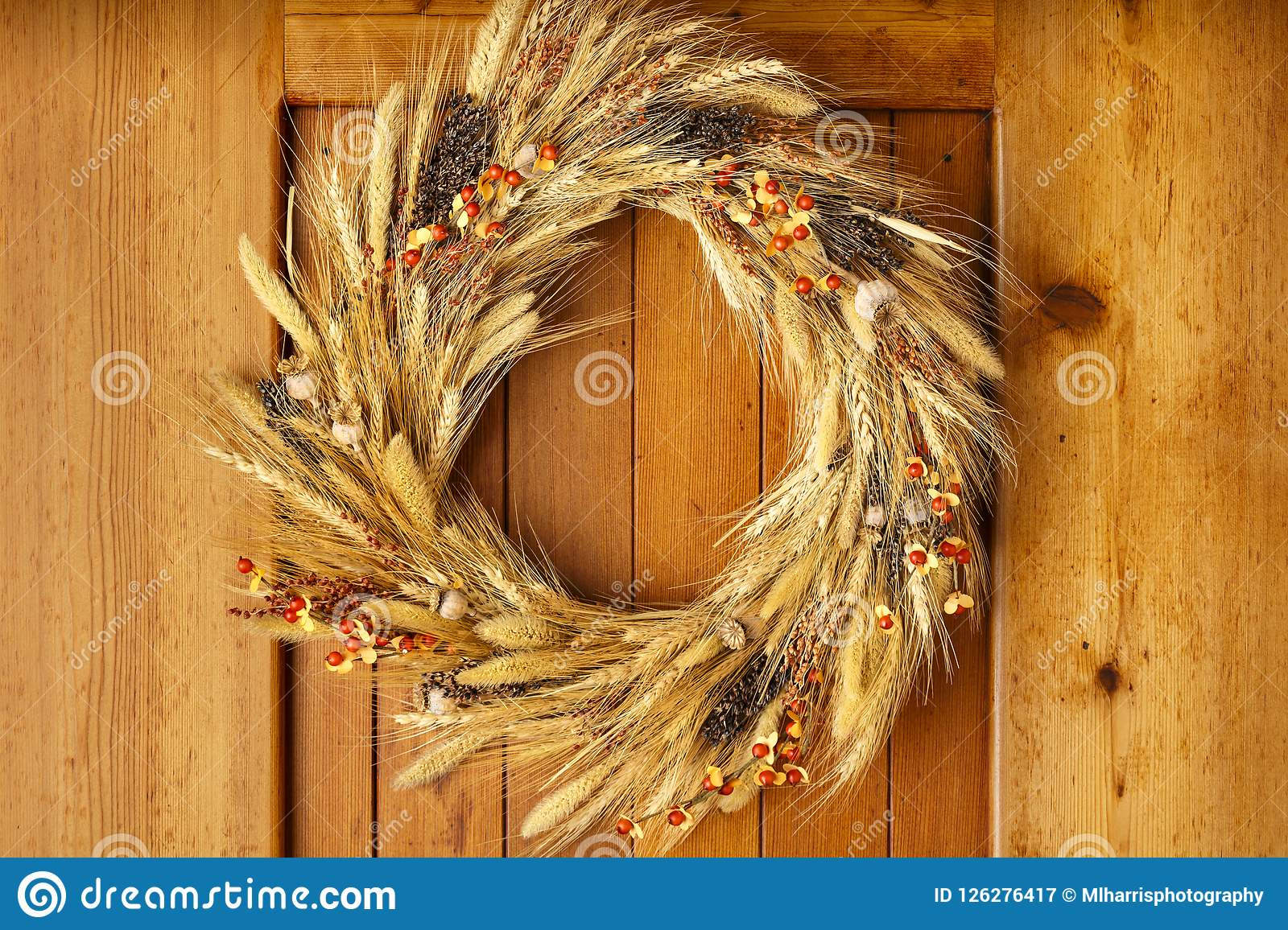 House home front door Fall autumn Thanksgiving decorations country style natural botanical rustic wreath on wood background