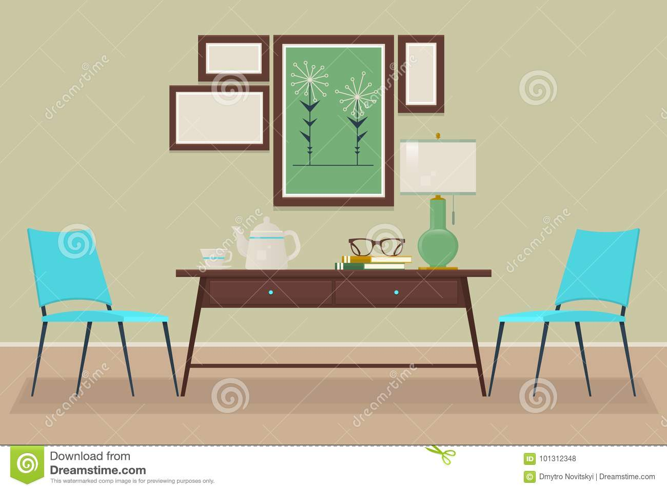 House Home Interior Design. Chair, Table, Lamp, Isolated Vector ...