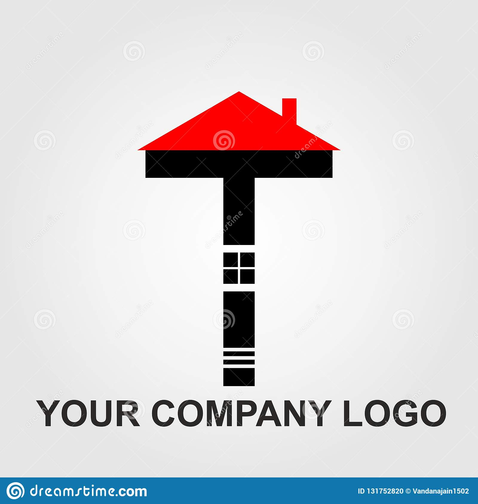 Red And Black Home And Company Logo Vector Set Design Letter