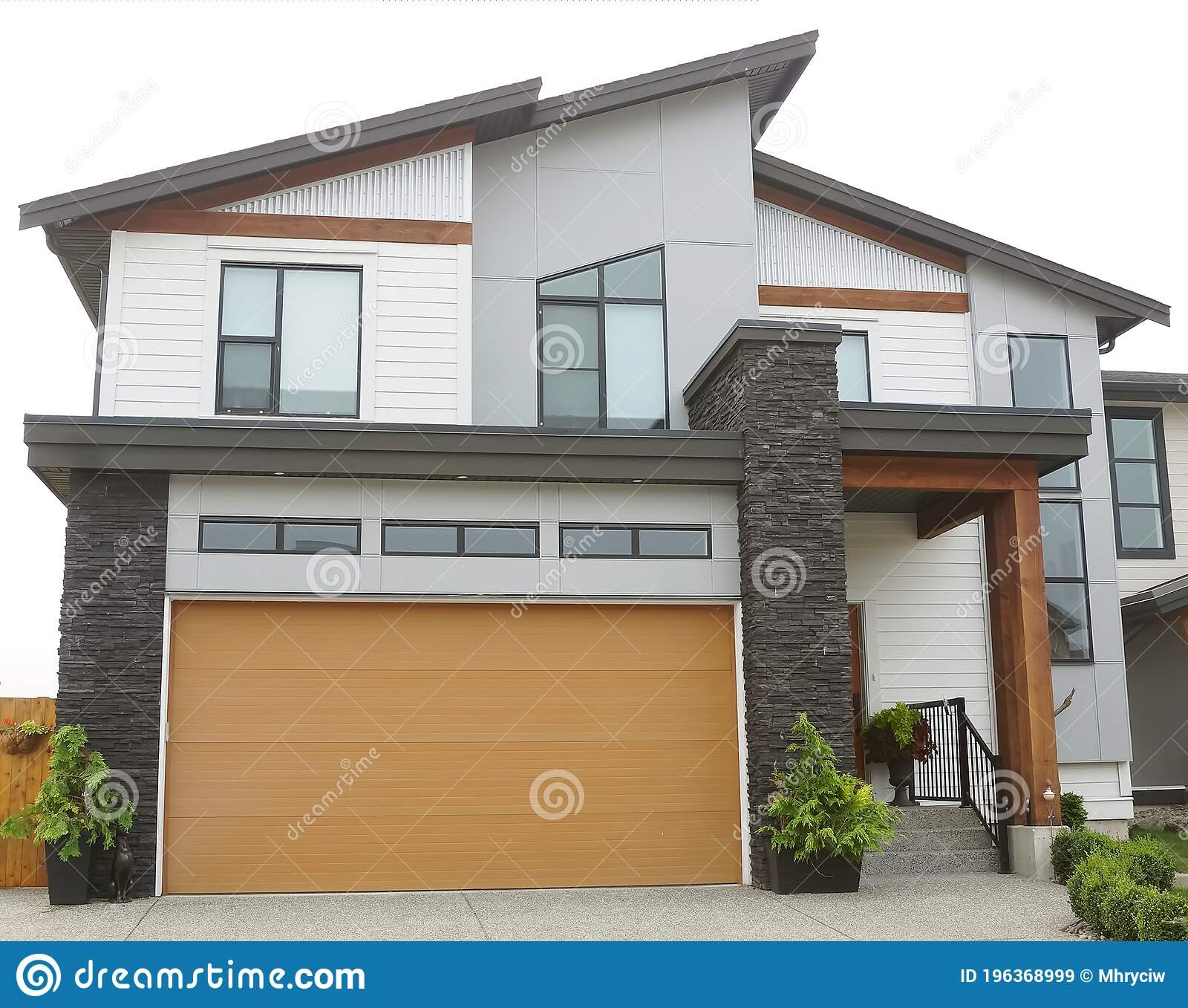 House Home Modern Roof Design Exterior Front Side Elevation Roof Details Stock Image Image Of Gray Canada 196368999