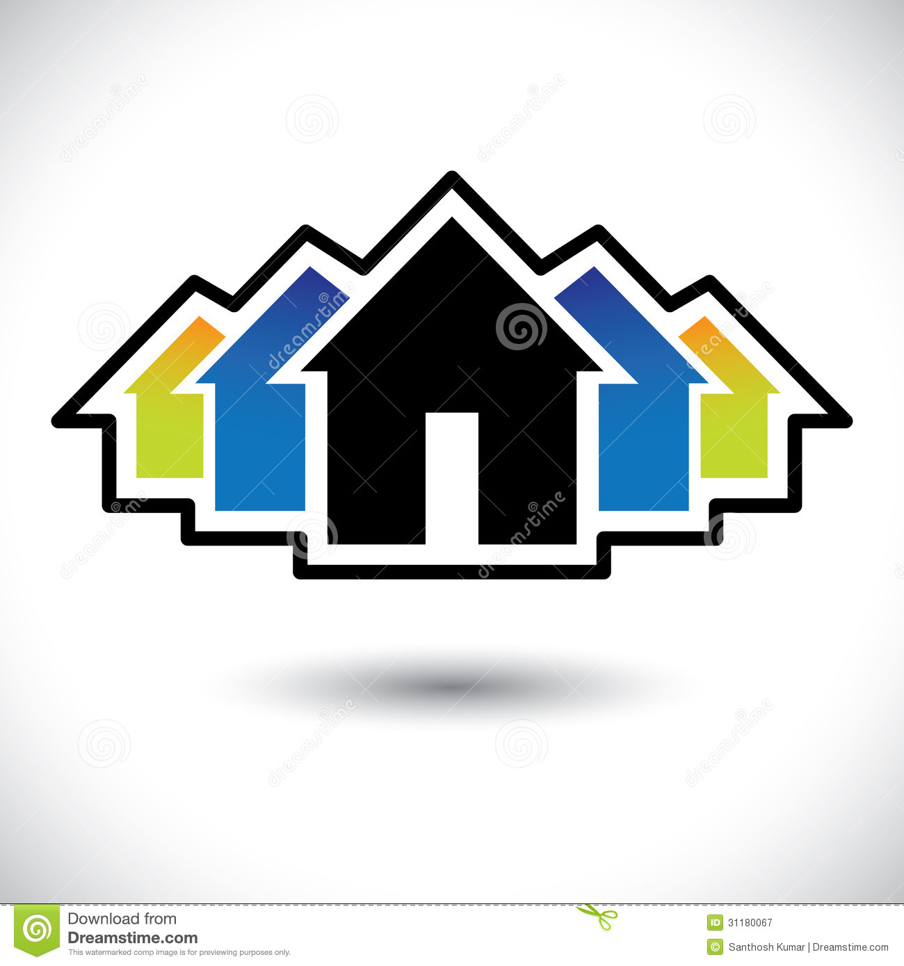 Commercial Property Graphics : House home residence sign for real estate stock vector