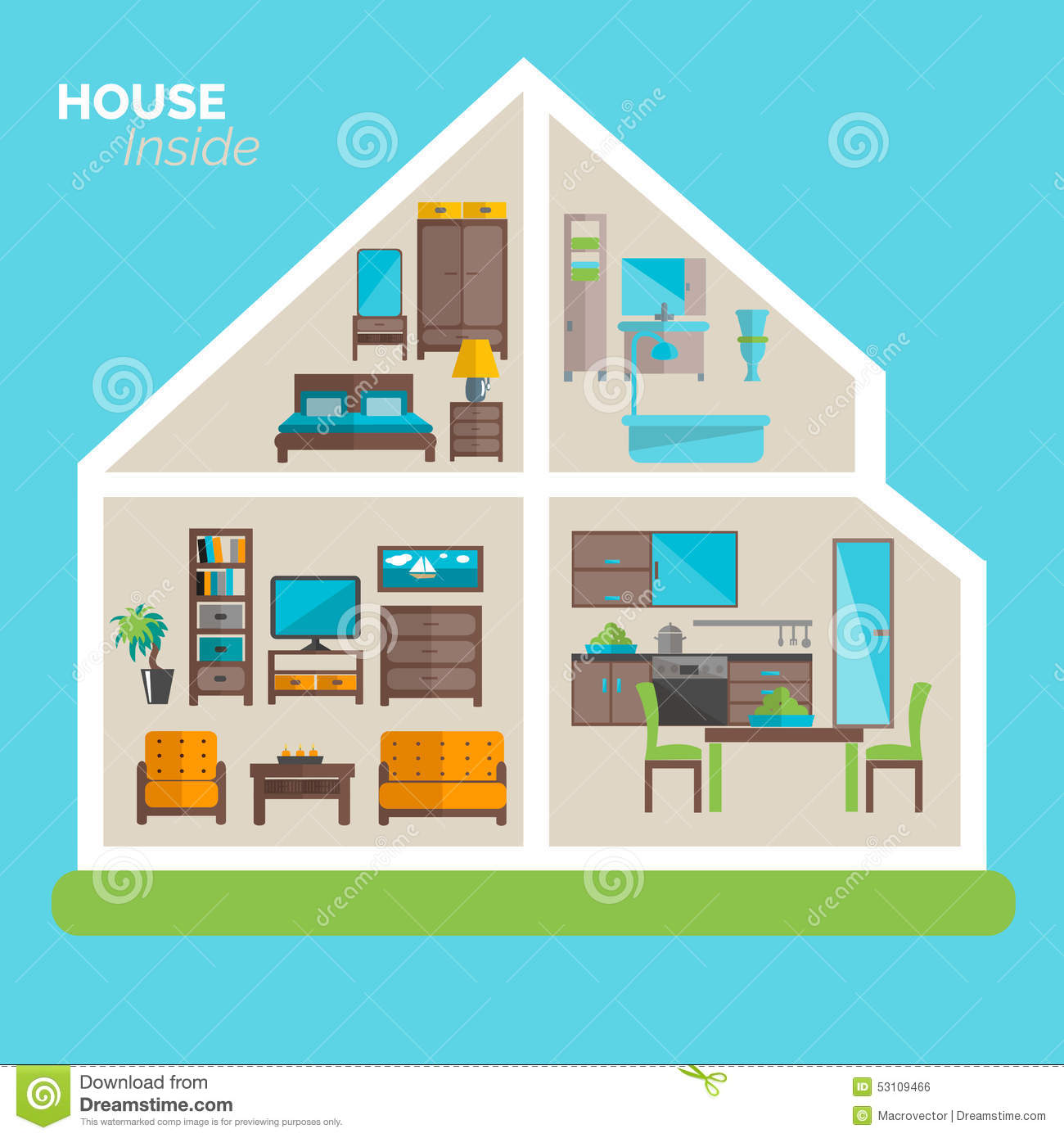 House Inside Furnishing Ideas Icon Poster Stock Vector