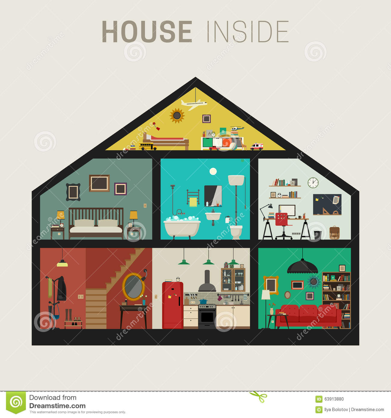 House Inside Interior Stock Vector