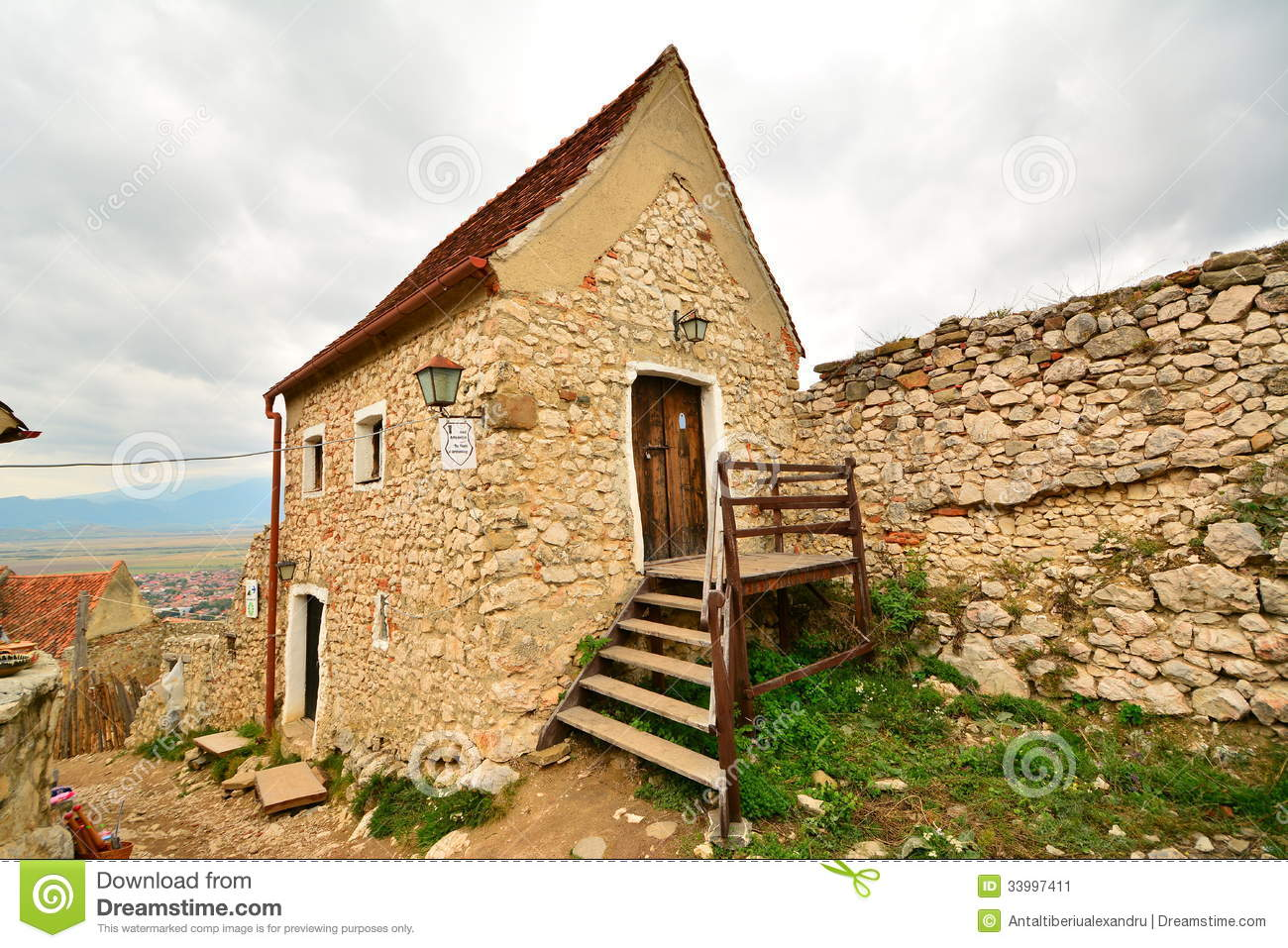 House inside the medieval fortress of rasnov stock image for Fortress house