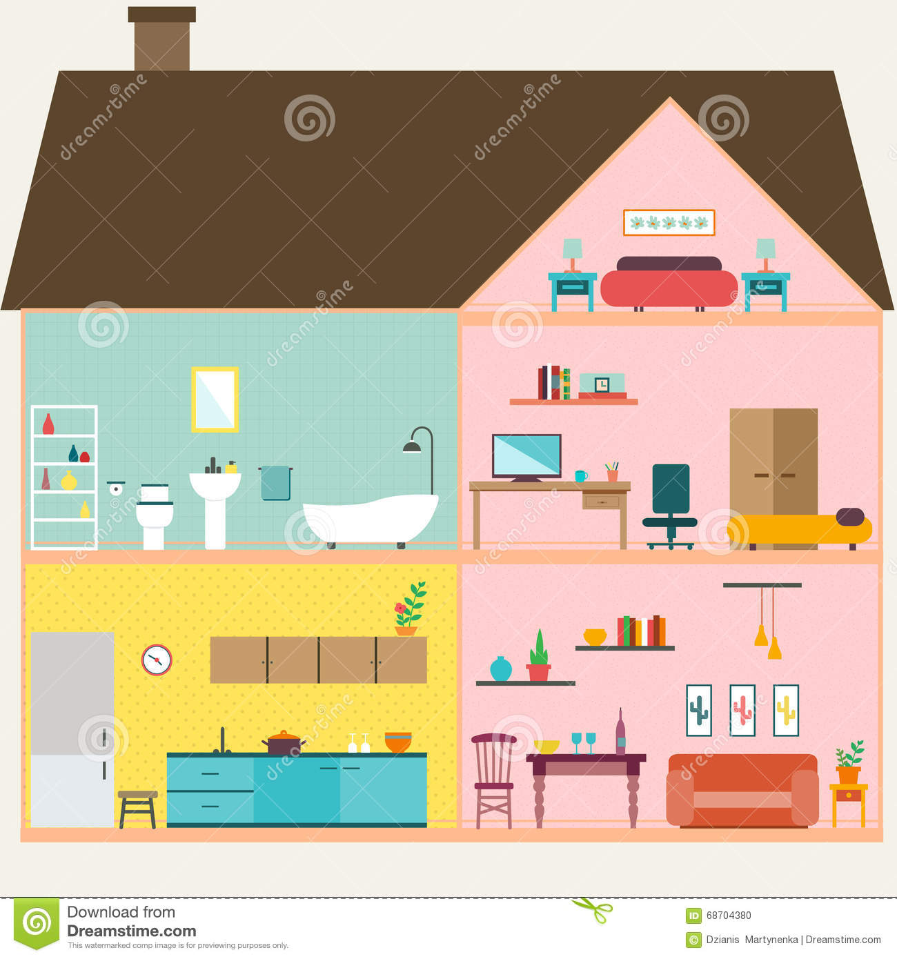 All rooms in the house rooms of homes vector art image illustration - House
