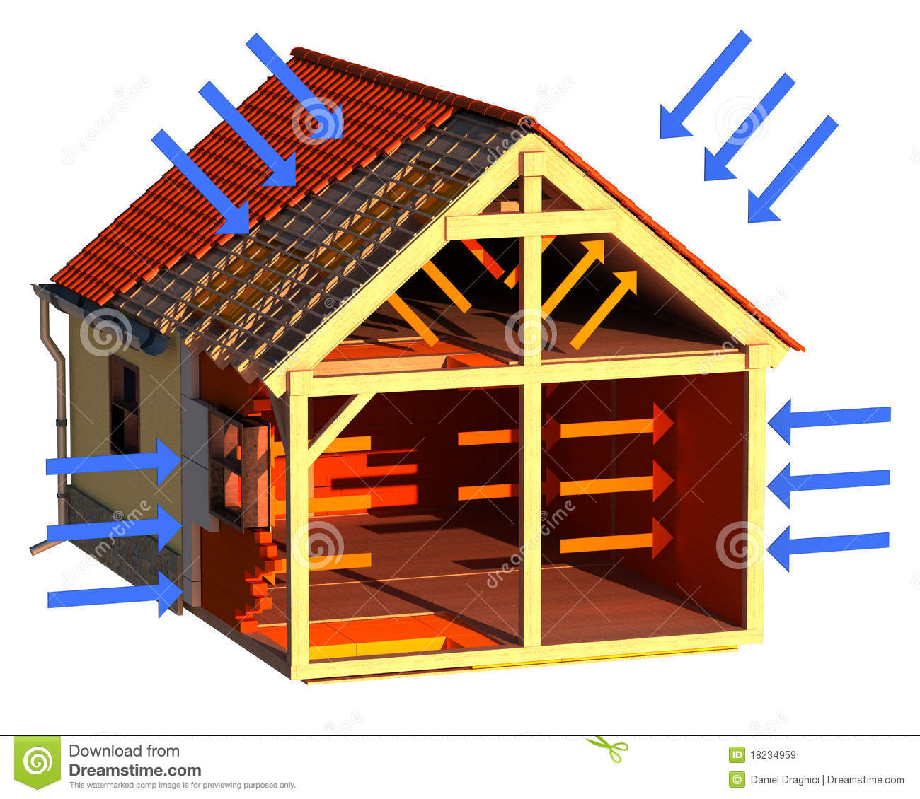 3D image of house structure with orange arrows showing heat loss and ...