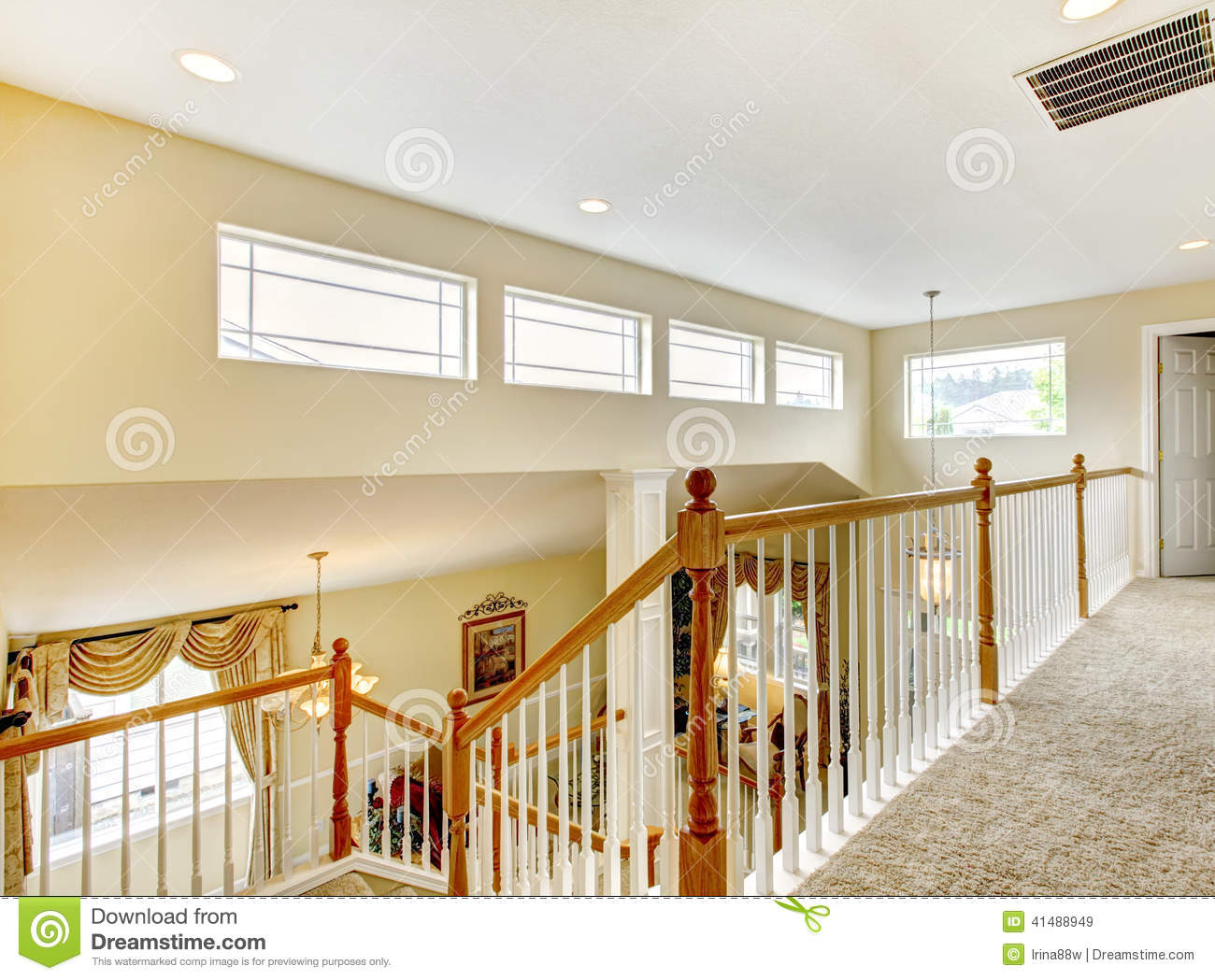 Stock Photo House Inteior Indoor Balcony Bright View Living Room Stairs Image41488949 on House Plans With Simple Construction