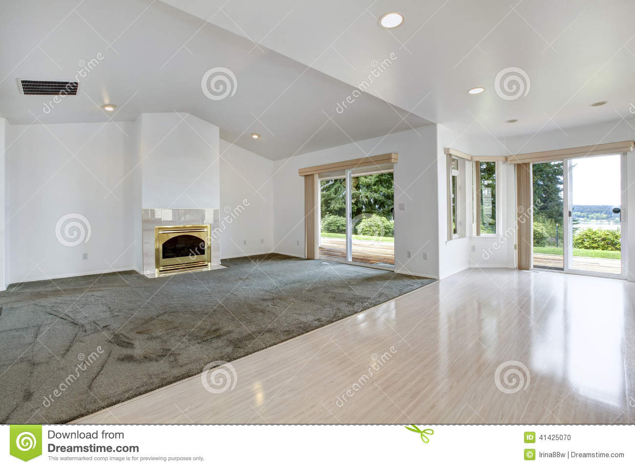 House interior. Empty living room with fireplace and walkout dec