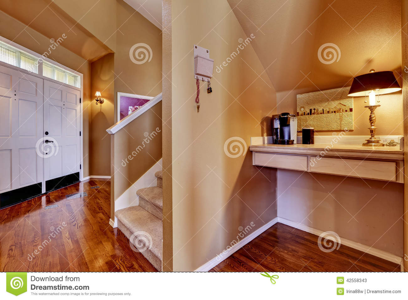 House Interior. Entrance Hall And Small Office Area Stock Photo ...