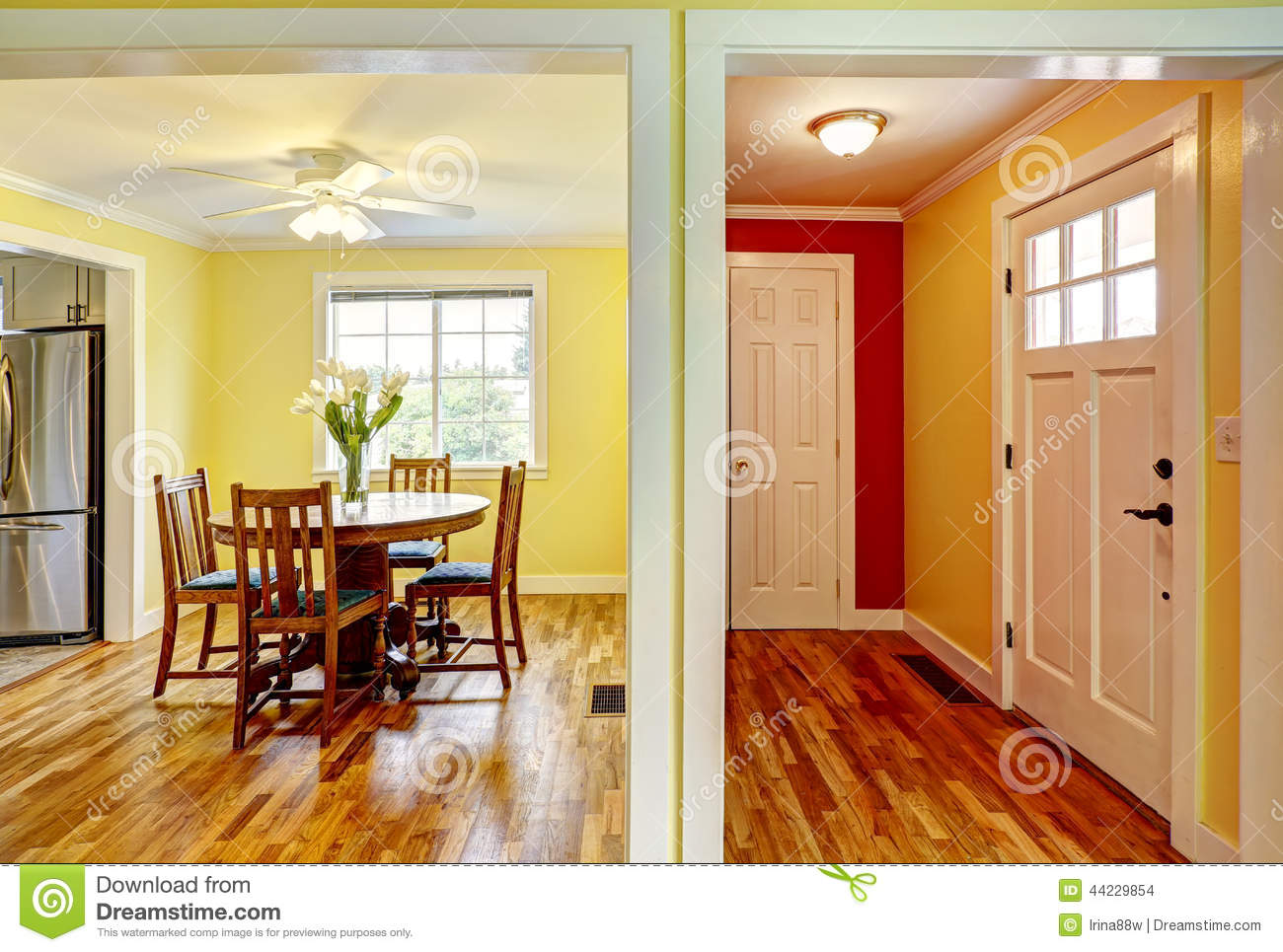 House interior entrance hallway and dining room stock for Dining room entrance ideas
