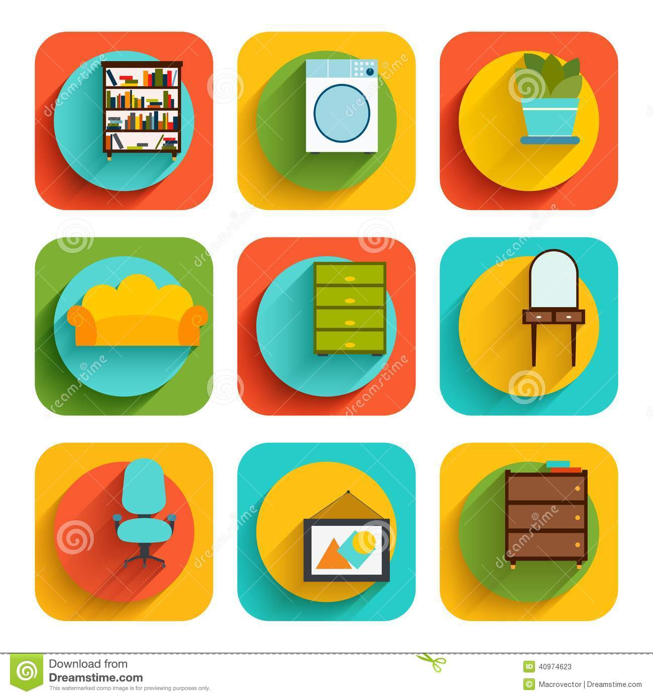 Lovely House Interior Furniture Icons