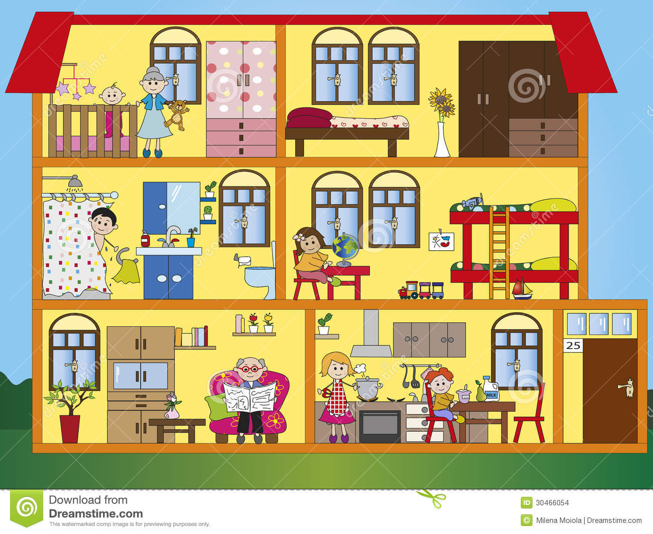 House interior stock illustration illustration of father for Interior house design clipart