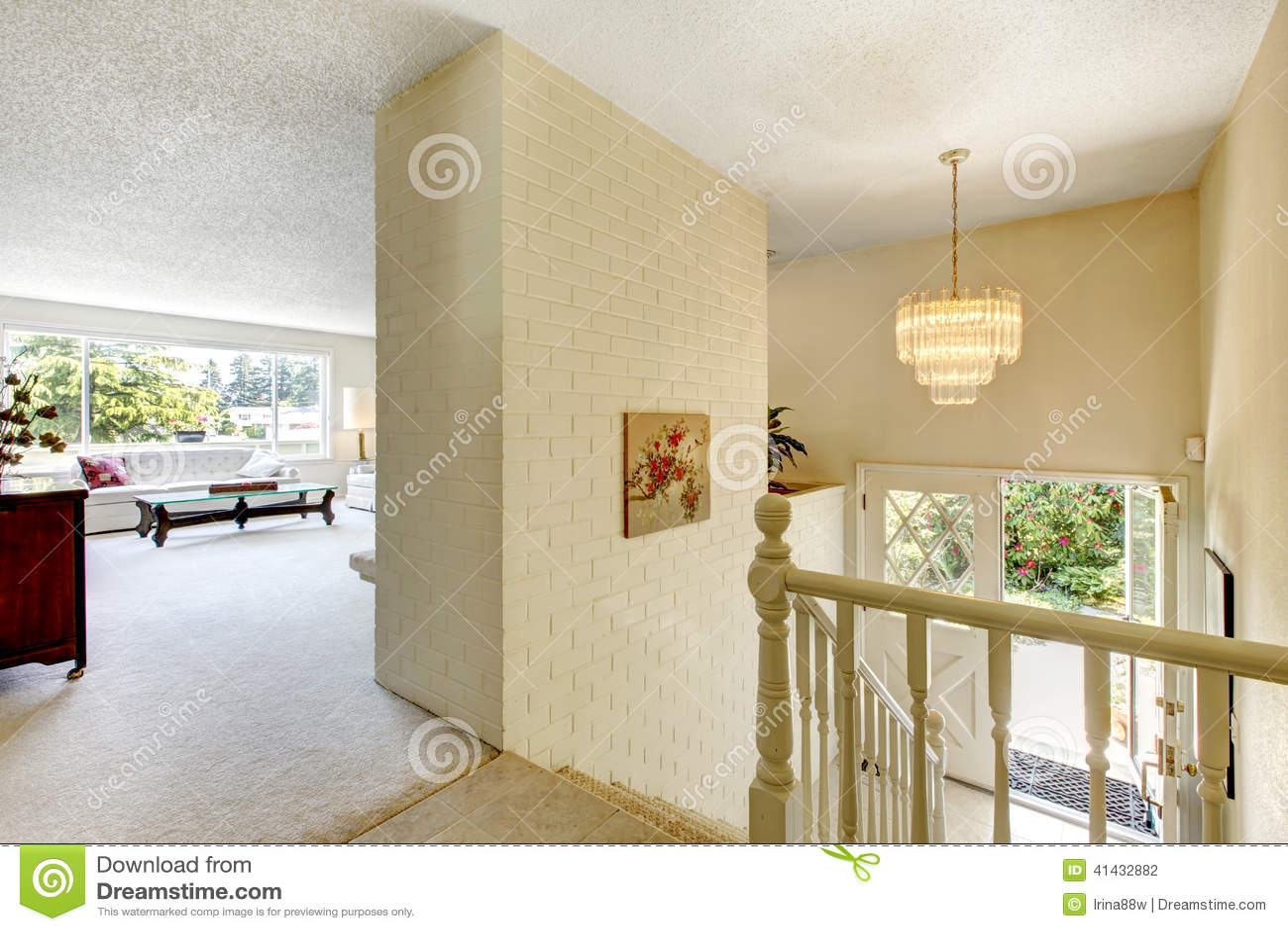 Brick Entrance Hall House Interior Living