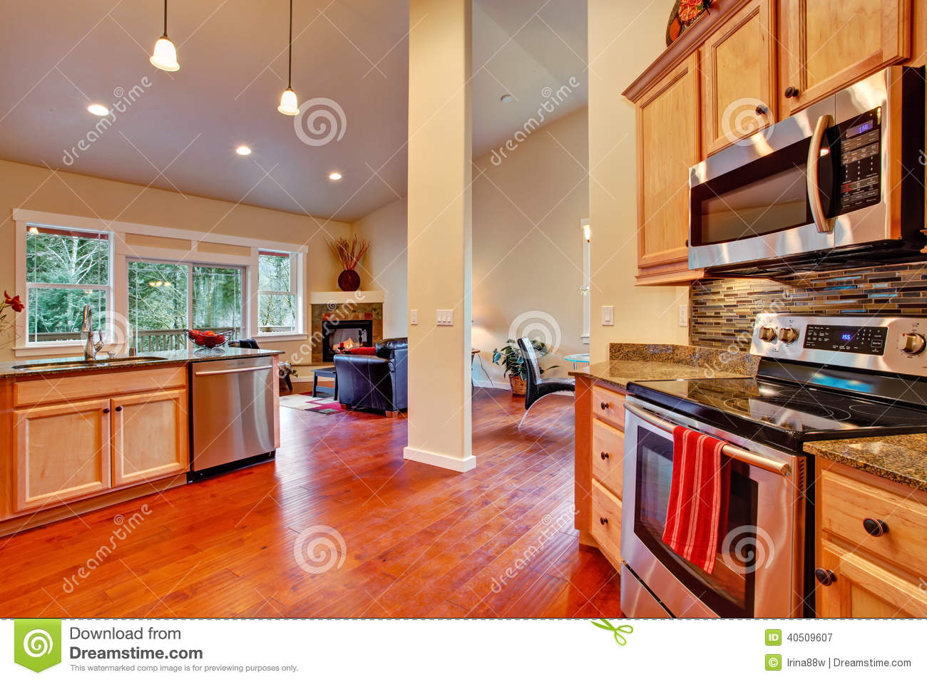 House interior open floor plan kitchen area stock photo for Open floor plans with vaulted ceilings