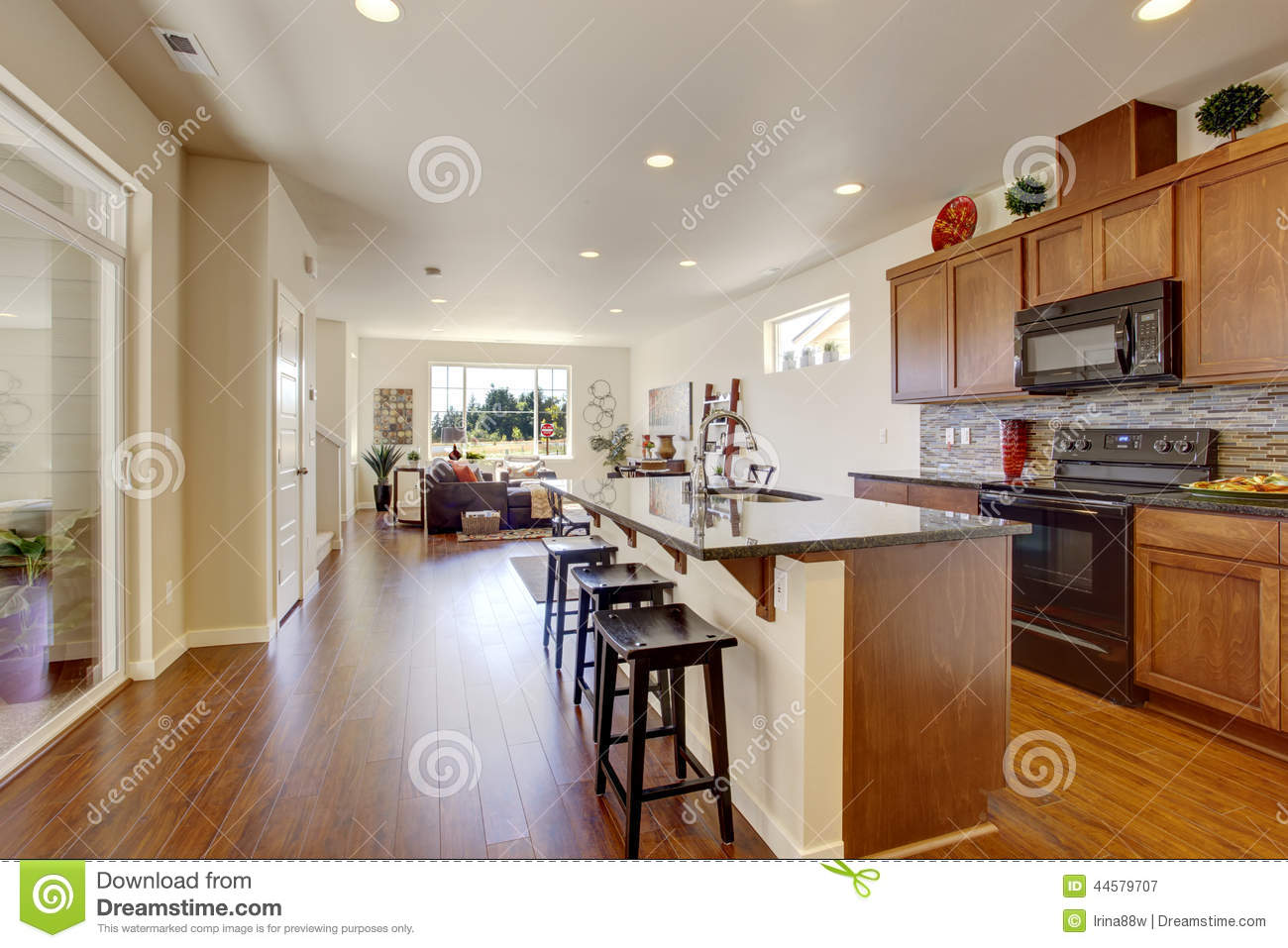 House interior with open floor plan kitchen room wiht for House plans with kitchen in back of house