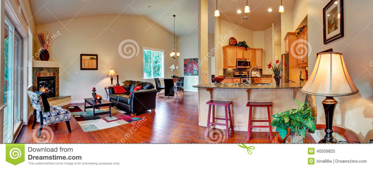 Room With Dining Area And Kitchen Panoramic View Of Open Floor Plan