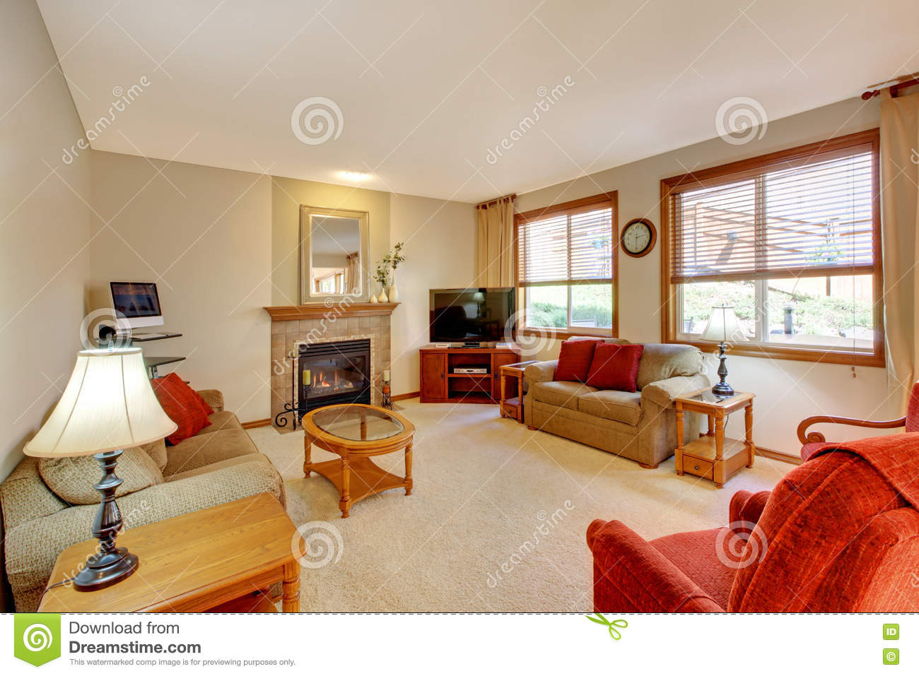 Living Room With Red Furniture House Interior Peach And Red Living Room With Fireplace And Red