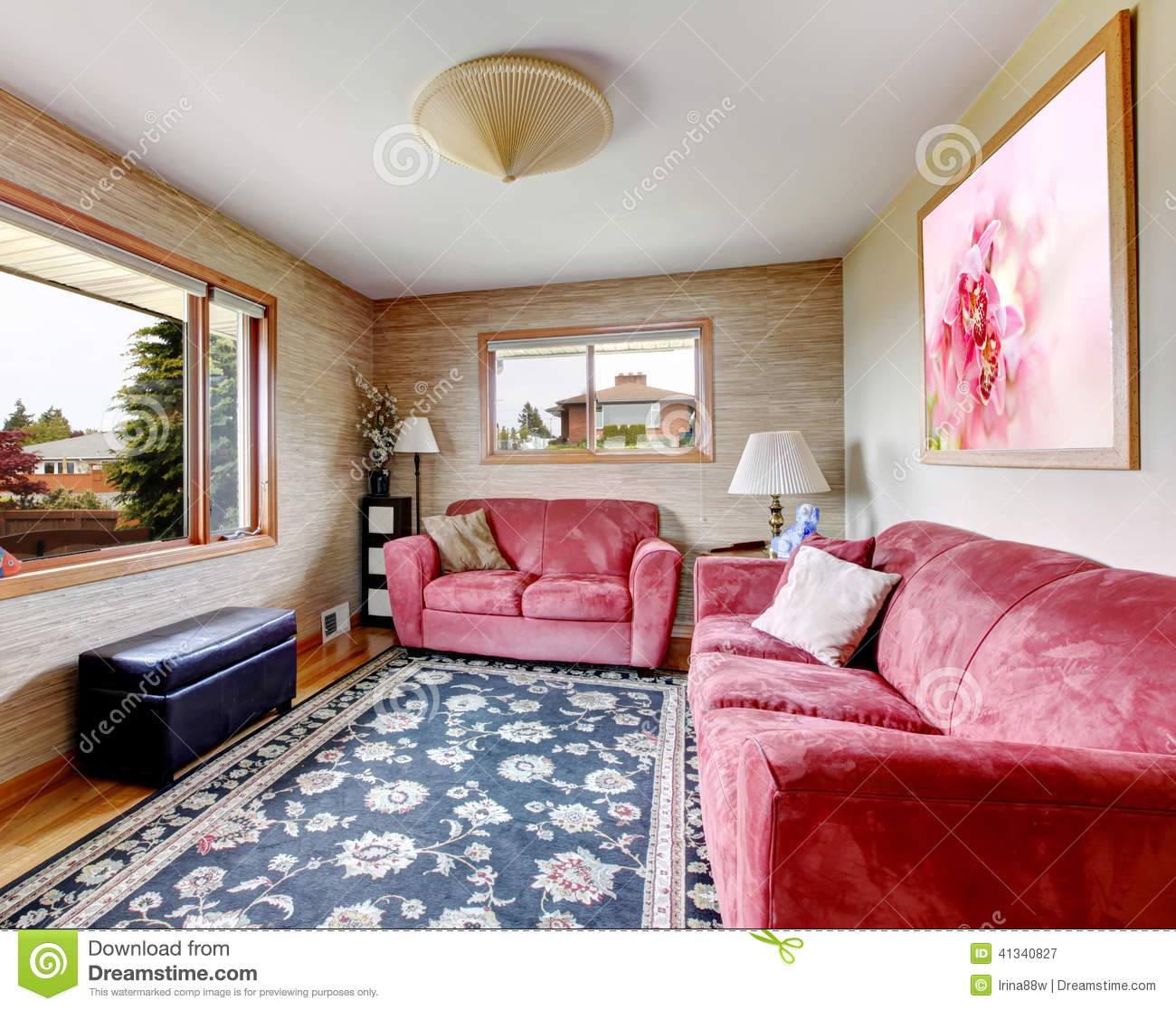 House Interior Red Sofas With Blue Rug Stock Image Image Of Floor