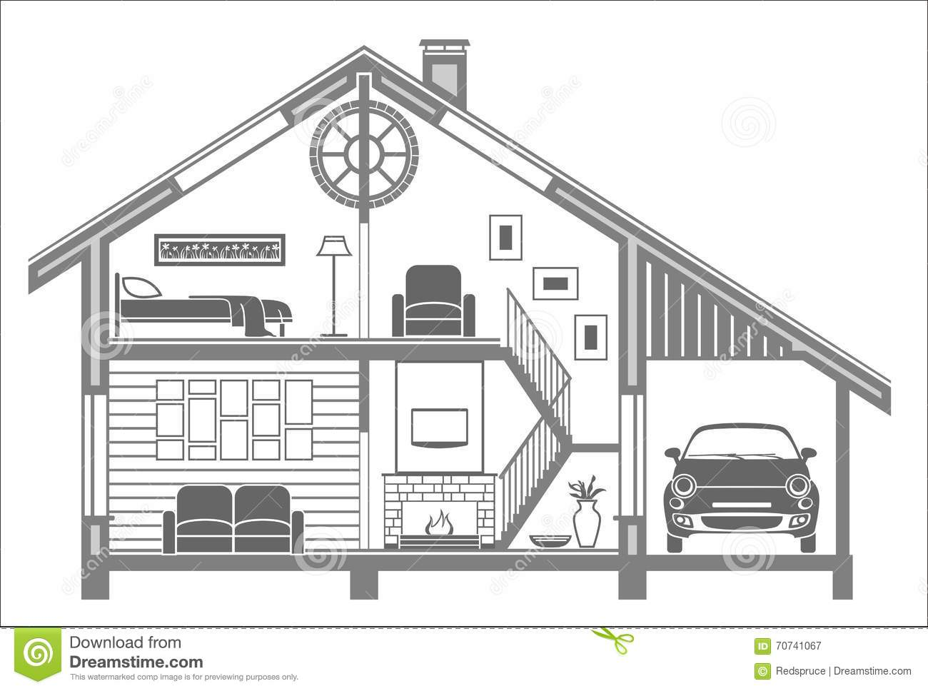 House interior silhouette vector illustration for Interior house design clipart
