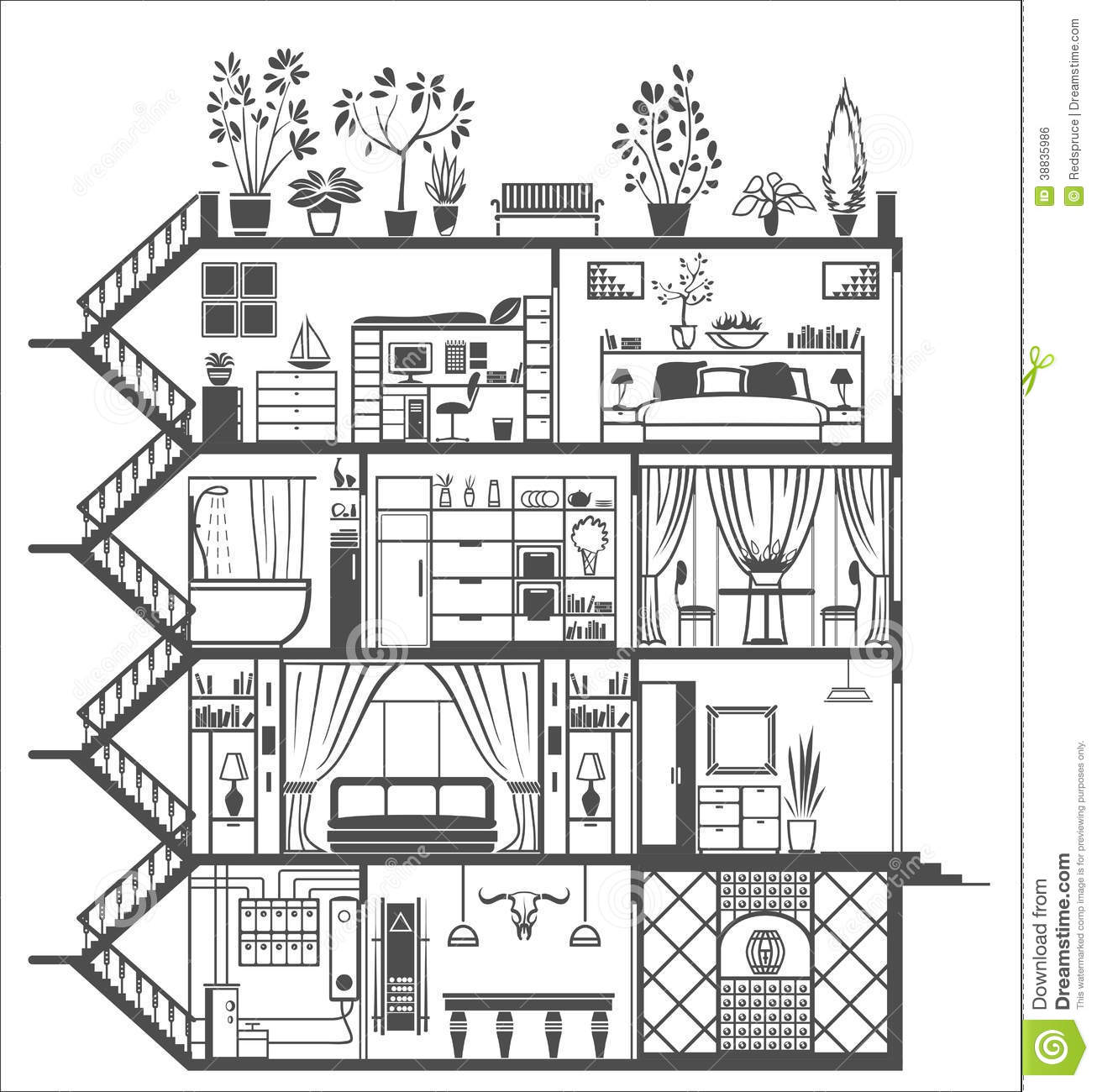 House interior silhouette stock vector image 38835986 for Interior house design clipart