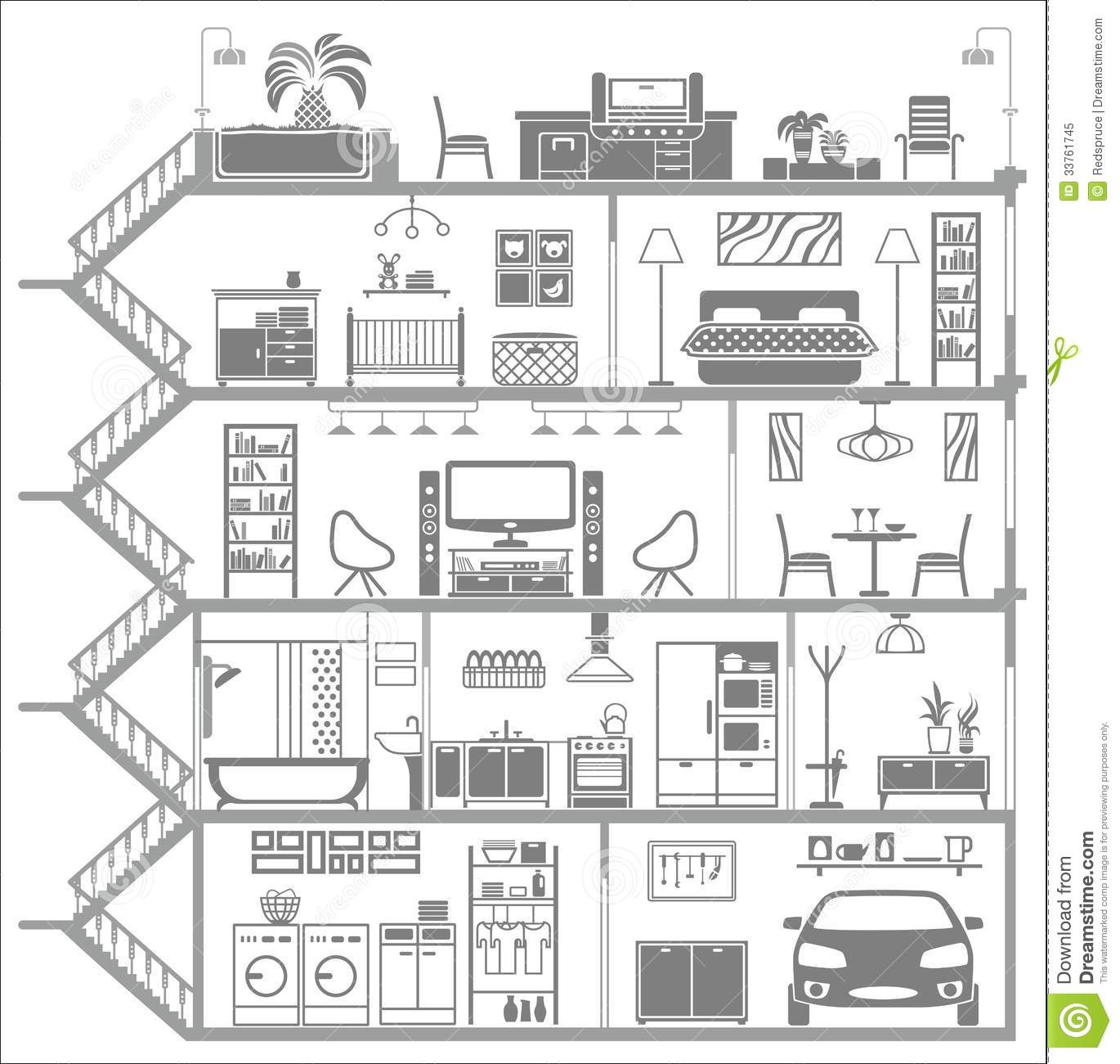 House interior silhouette vector illustration stock for Interior house design clipart