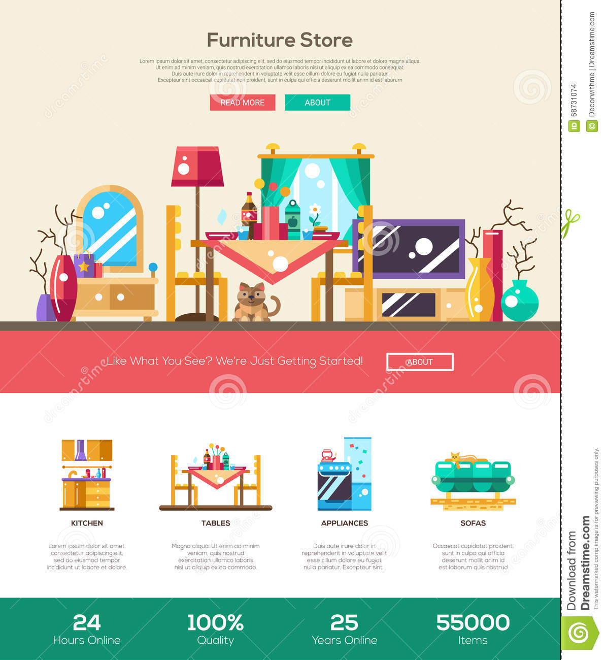 Download House Interior Store Website Header Banner With Webdesign Elements  Stock Vector   Illustration Of Element
