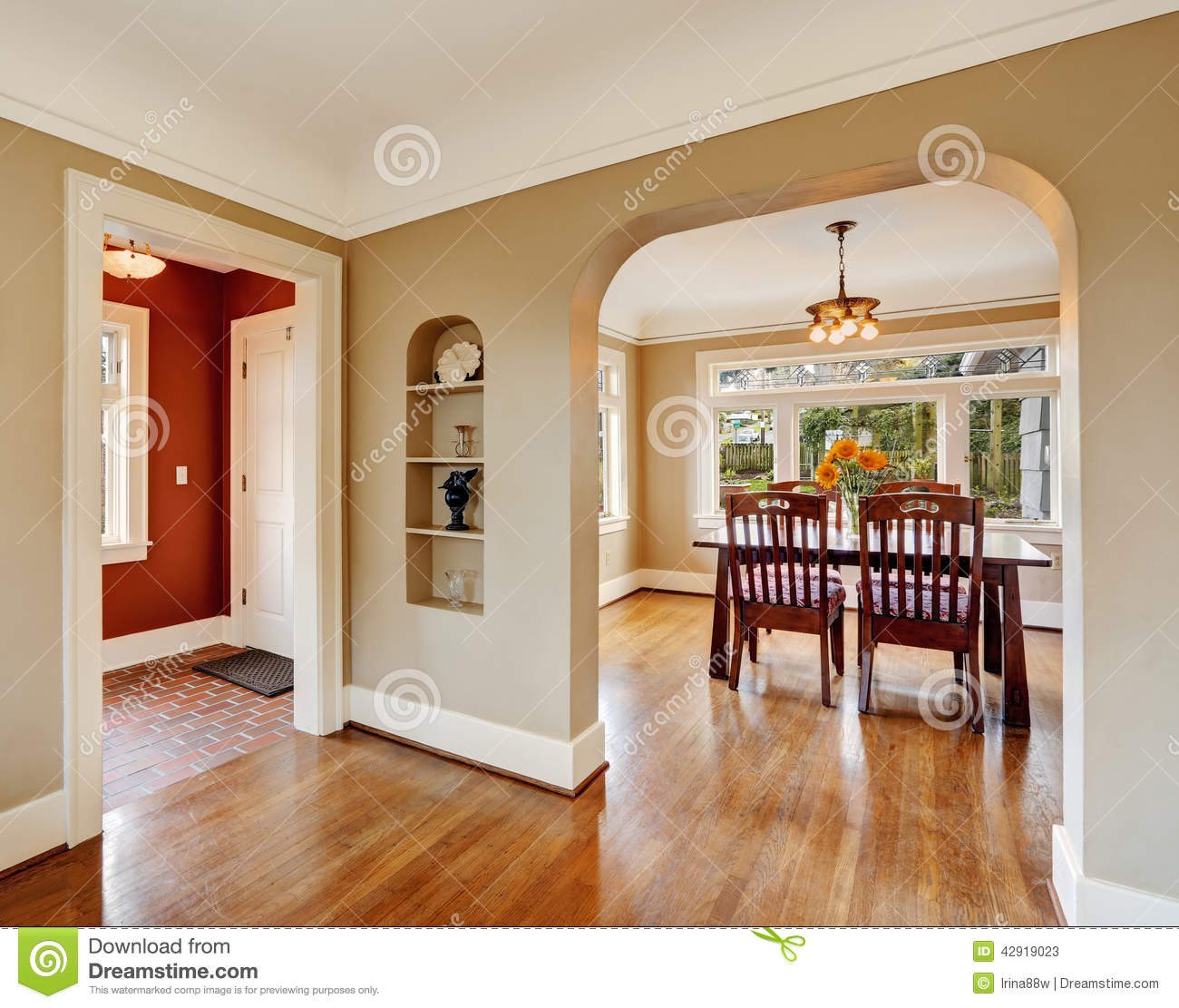 House interior view of dining area entrance hall stock for House plans with inside photos