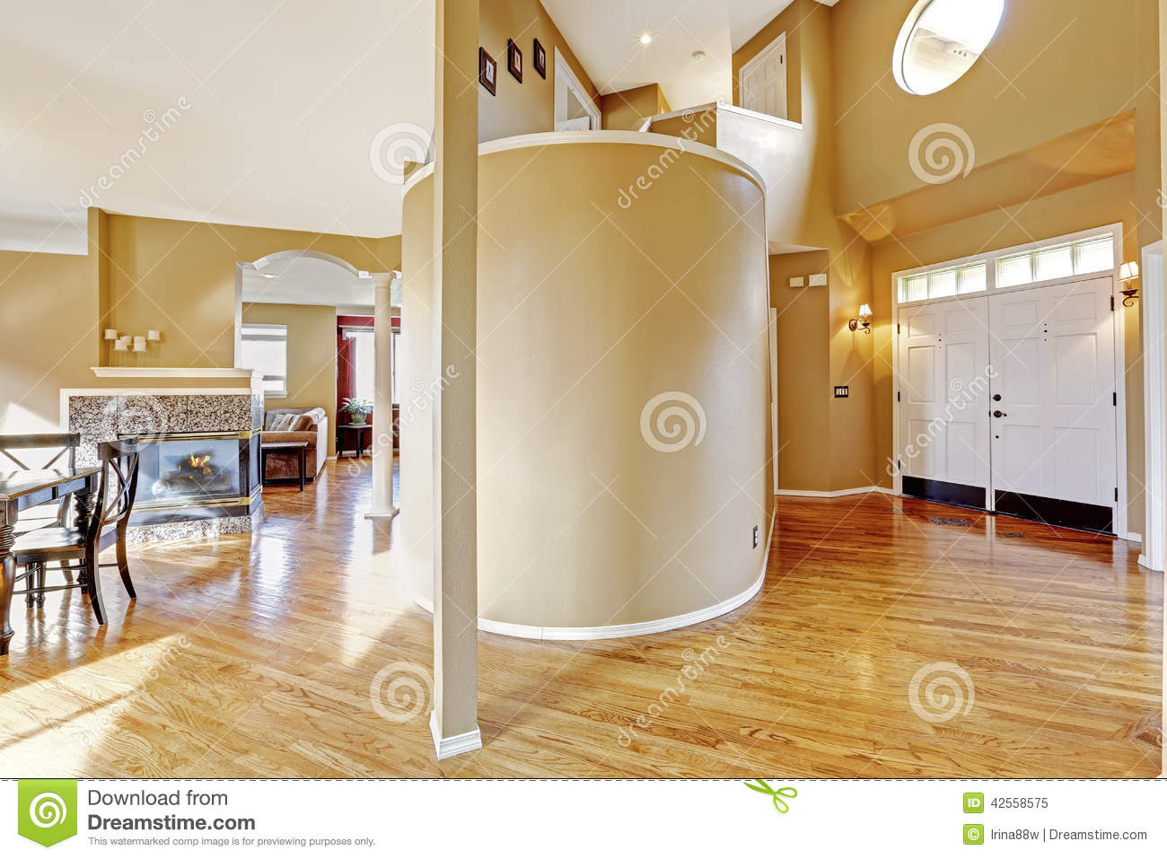 House interior view of entrance hallway and living room stock image image of area hardwood for Open plan hallway and living room
