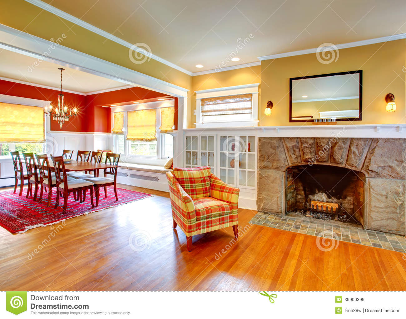 House interior.Yellow living room and contrast red dining area