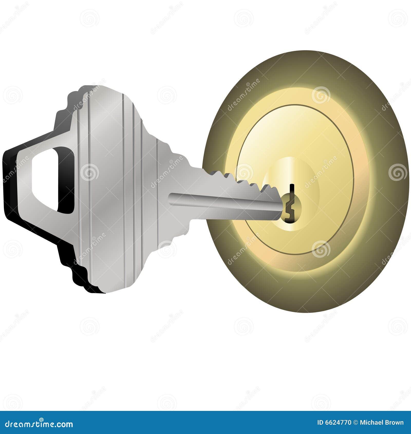 House Key To Unlock Brass Lock For Home Door Stock Photo