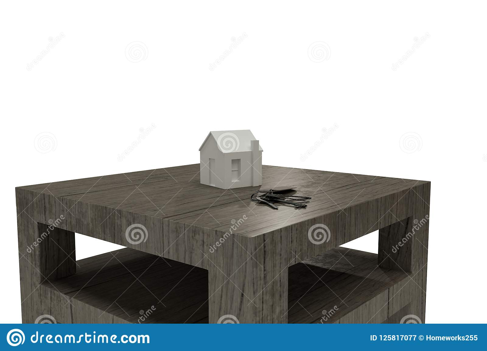 House keys on wooden table stock illustration ...