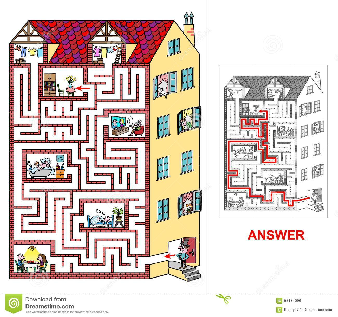 House labyrinth for kids easy stock vector image Find a house