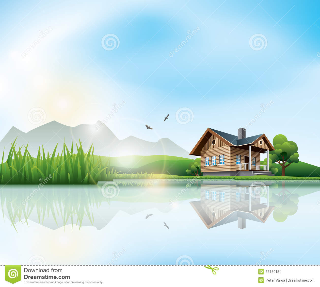Landscape Illustration Vector Free: House At The Lake Stock Vector. Illustration Of Grass