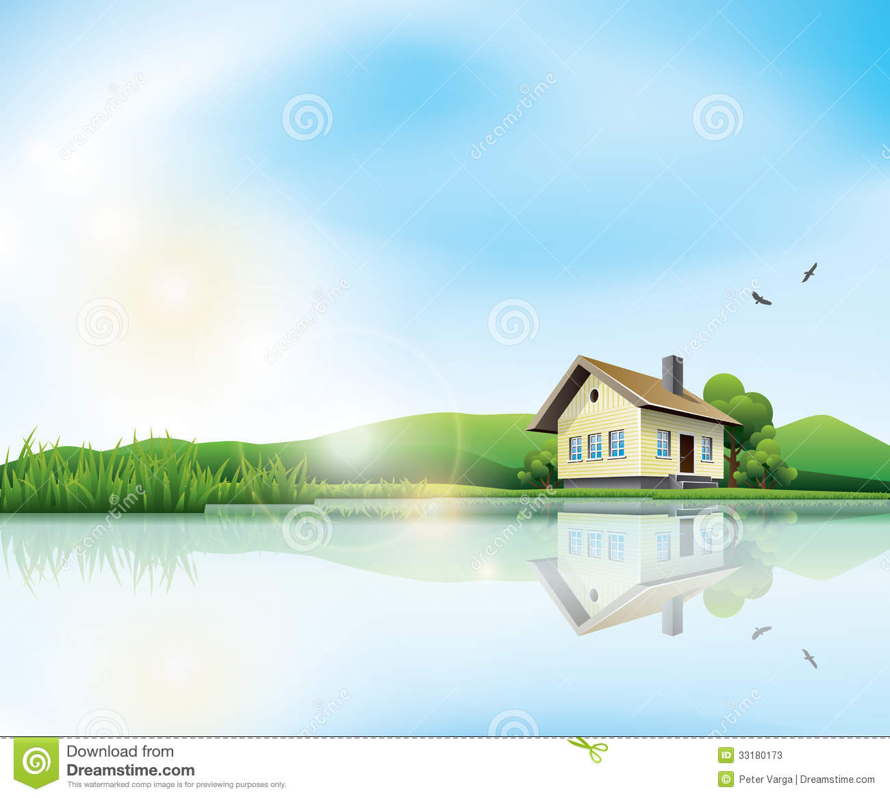 Landscape Illustration Vector Free: House At The Lake Stock Vector. Illustration Of