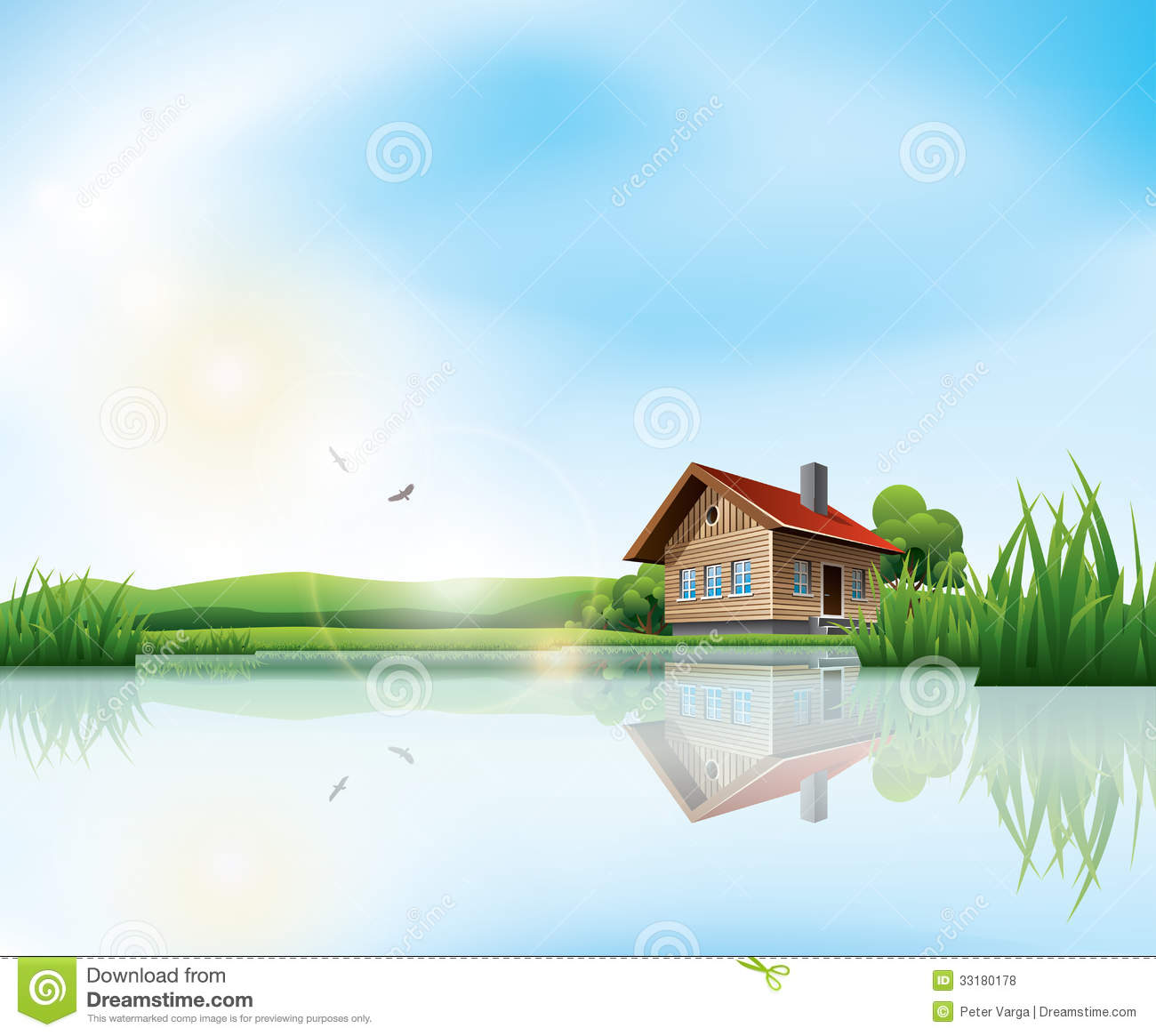 Landscape Illustration Vector Free: House At The Lake Stock Vector. Illustration Of Meadow