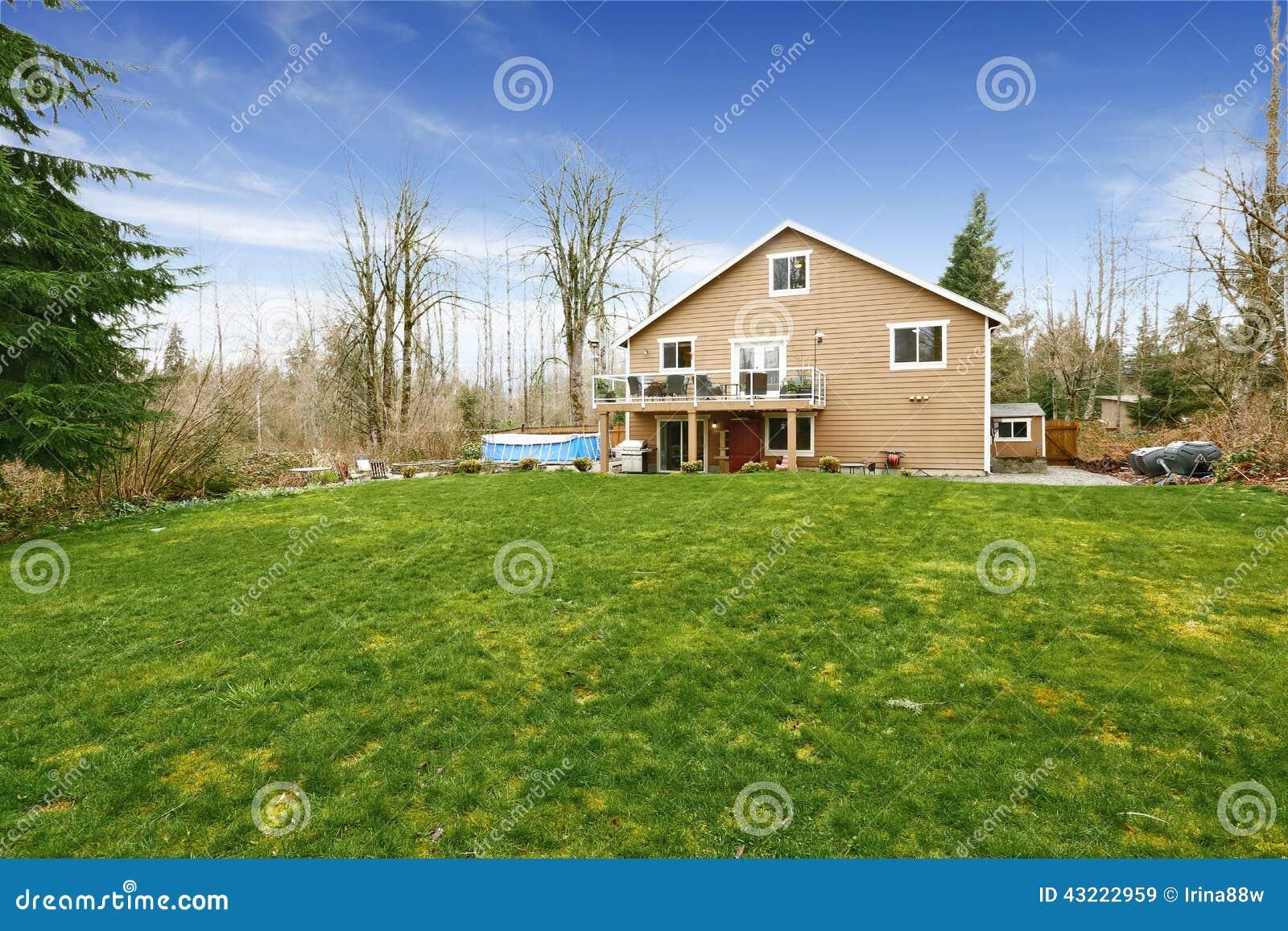 house with large backyard land stock photo image 43222959