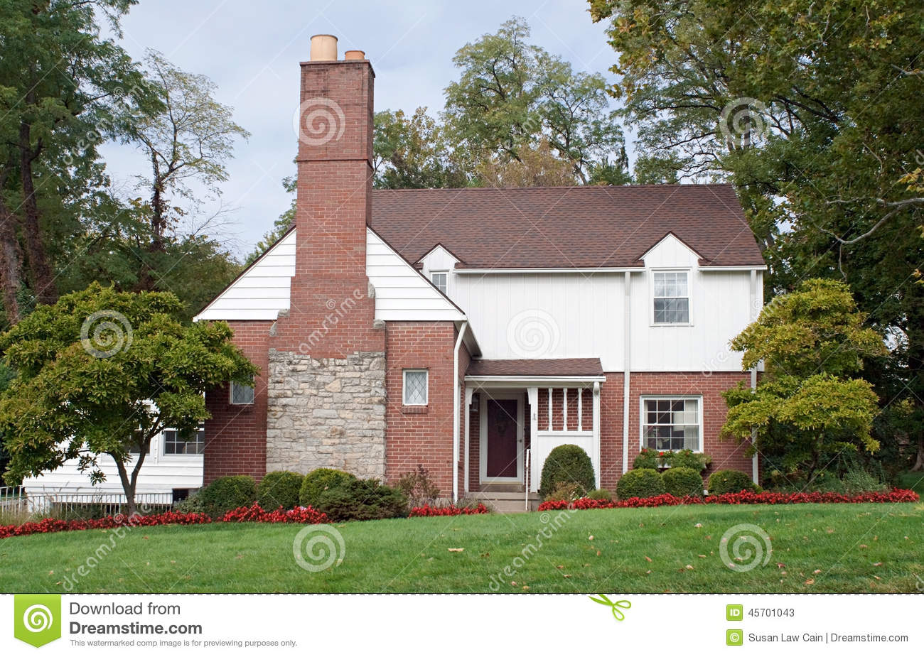 Houses With Stone Chimneys : House with large fireplace chimney stock image of