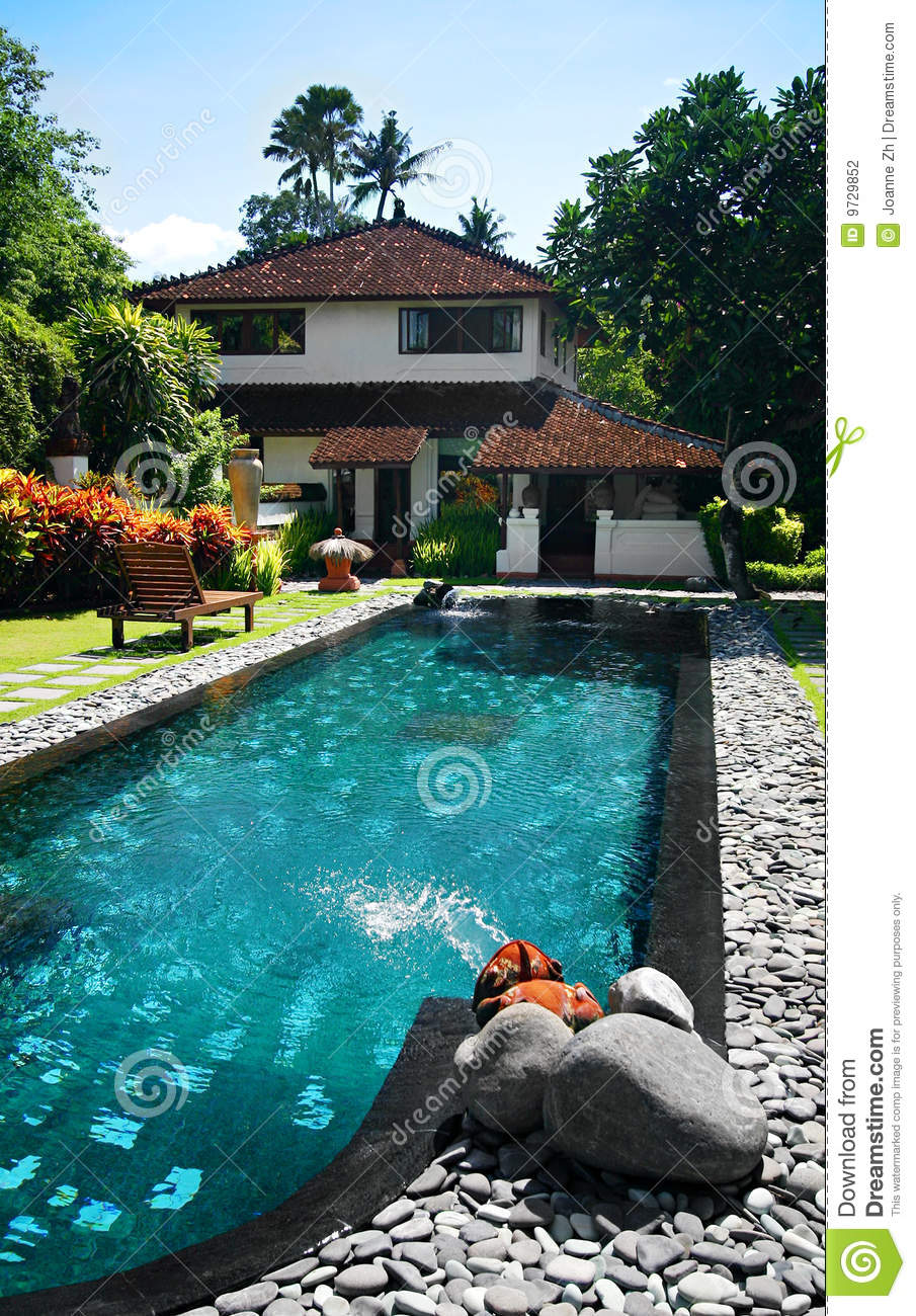 House with large outdoor swimming pool stock photography for Big garden pools