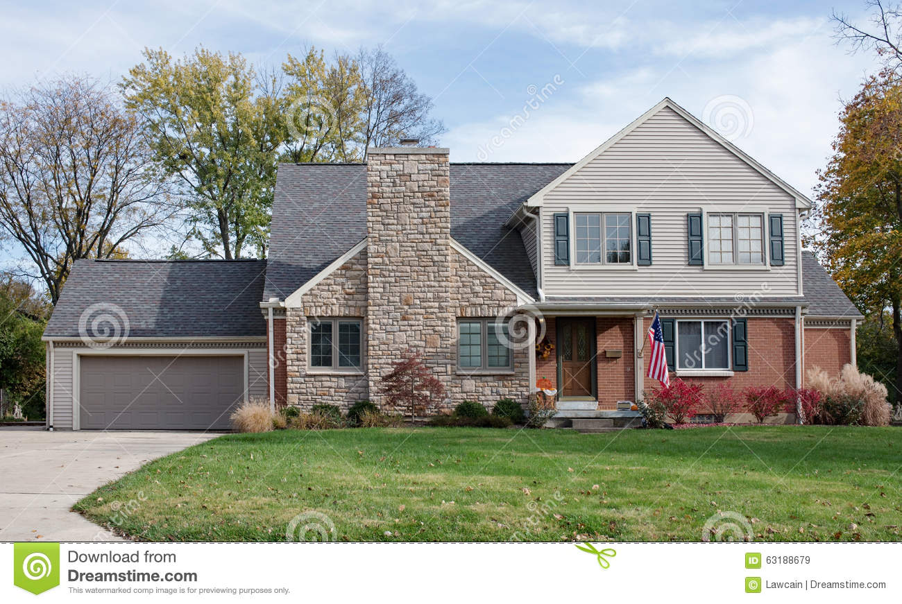 Houses With Stone Chimneys : House with large stone fireplace chimney stock photo