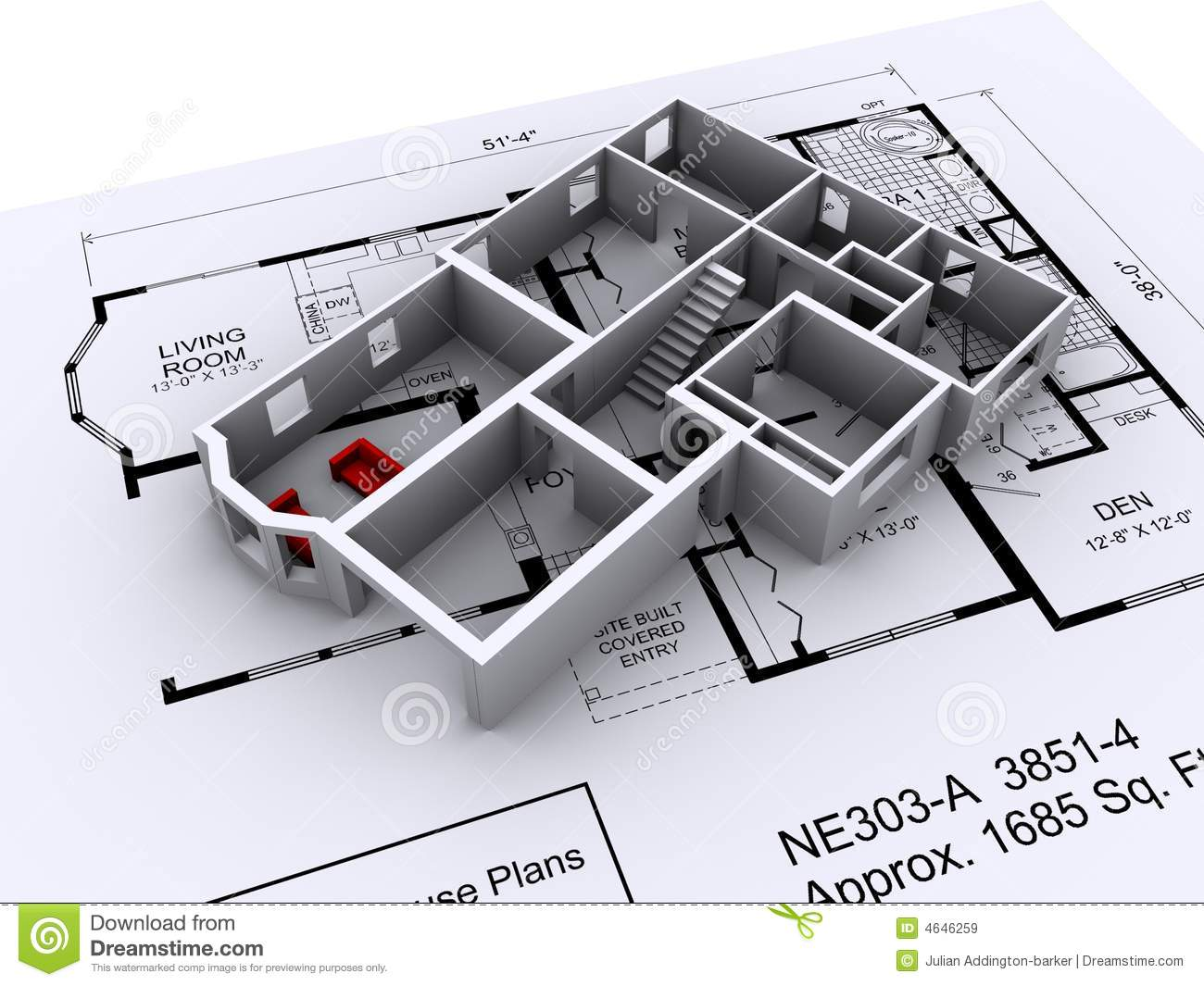 Layout and 3D model of a new house on top of house plans .