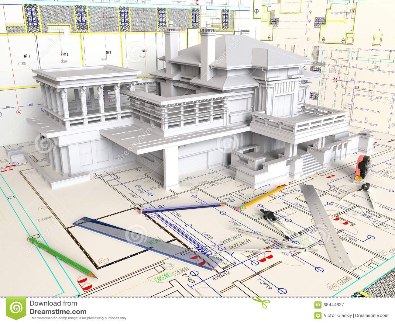 house layout and architectural drawings stock photo image 68444837