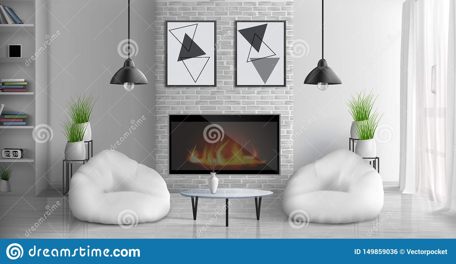 House Living Room With Fireplace Vector Interior Stock