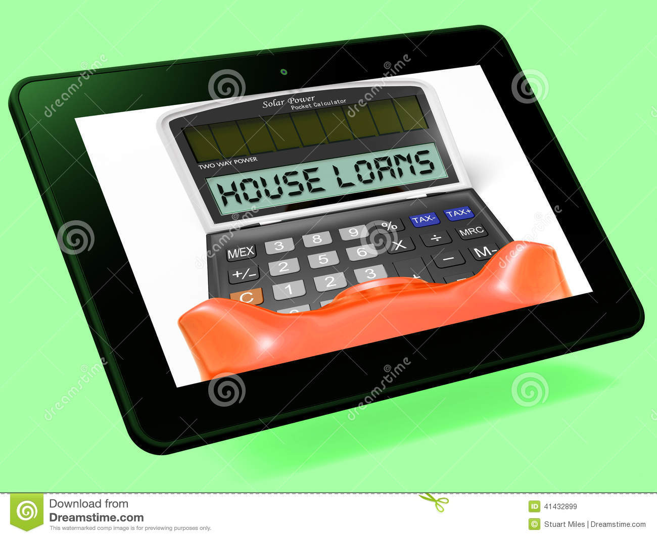 House loans calculator tablet shows mortgage and bank for Building a home calculator