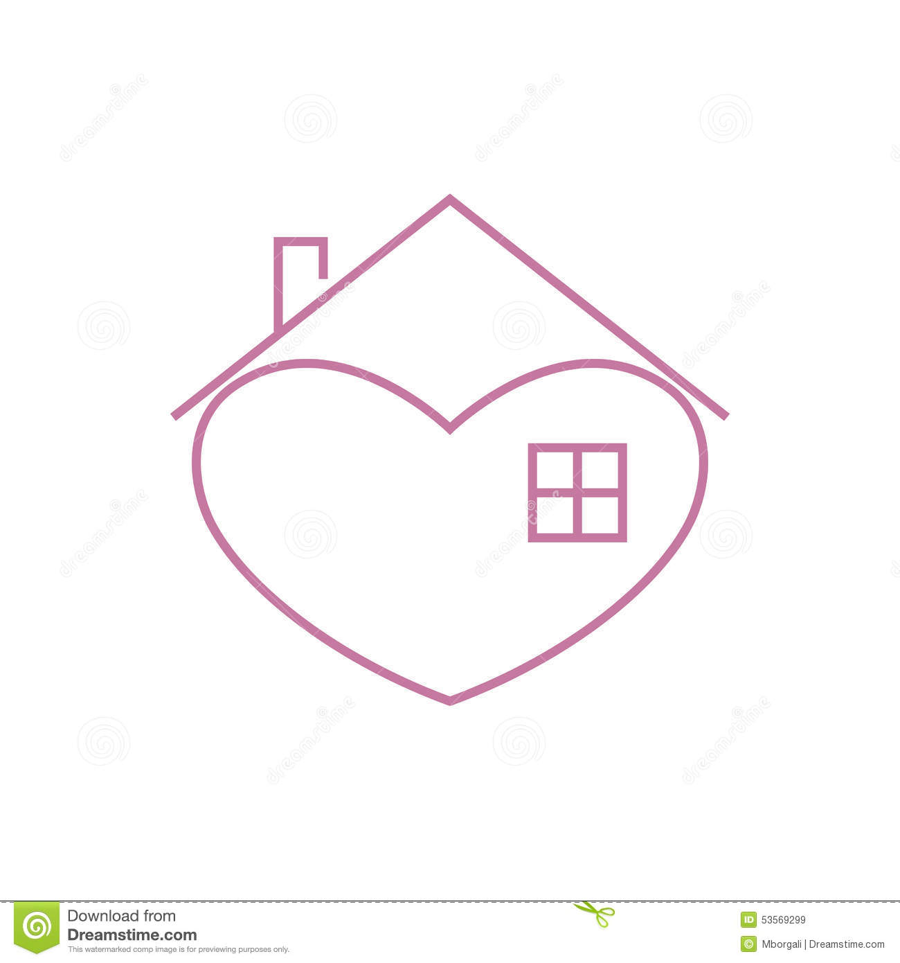 Stock Illustration House Logo Template Pink Shape Heart Big Window Isolated White Background New Concept Image53569299 on Ordinary House Simple Plans