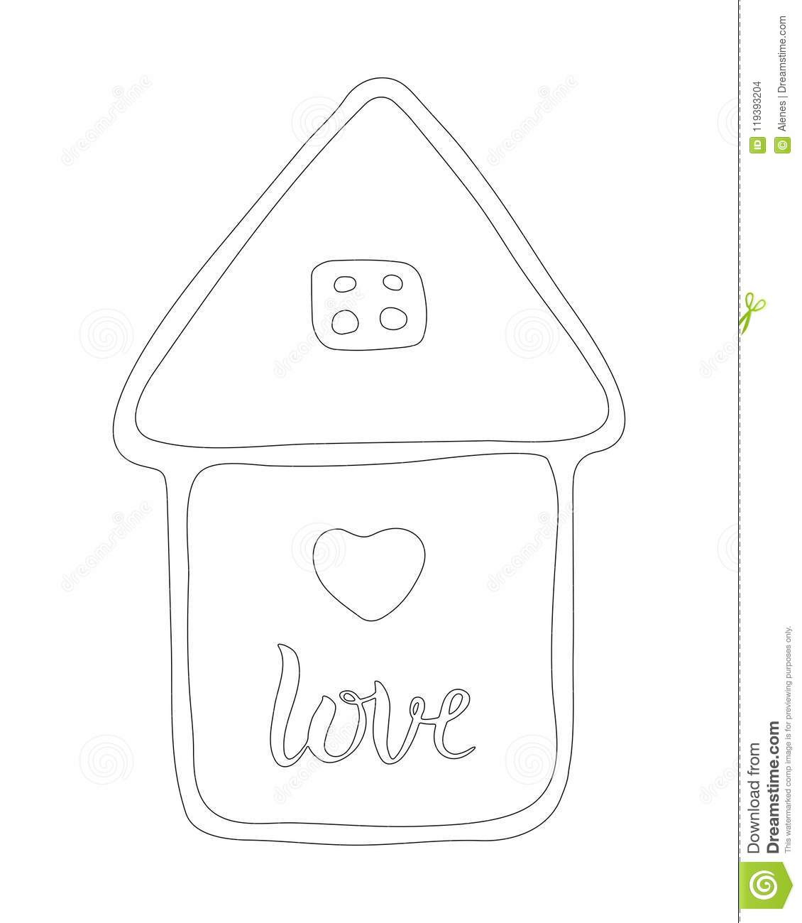 House With Love Hearts. Hand Drawn Illustration. Icon, Logo ...