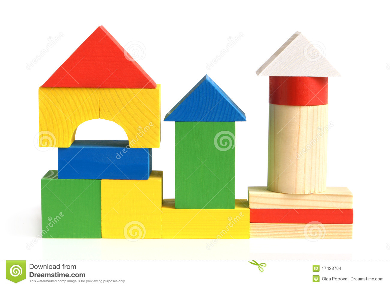 house made from children u0026 39 s wooden building blocks stock