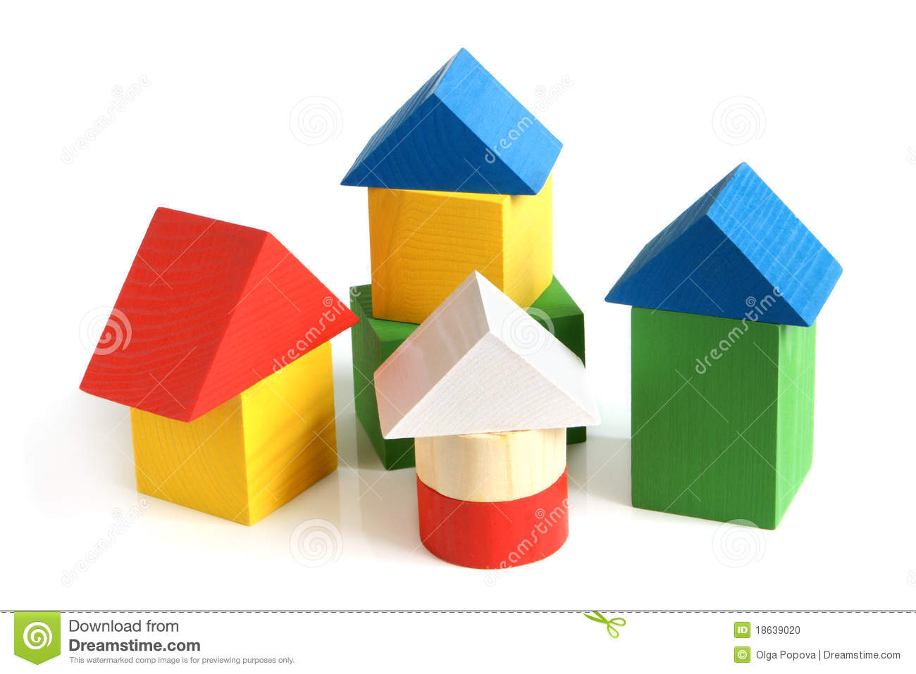 House made from children s wooden building blocks