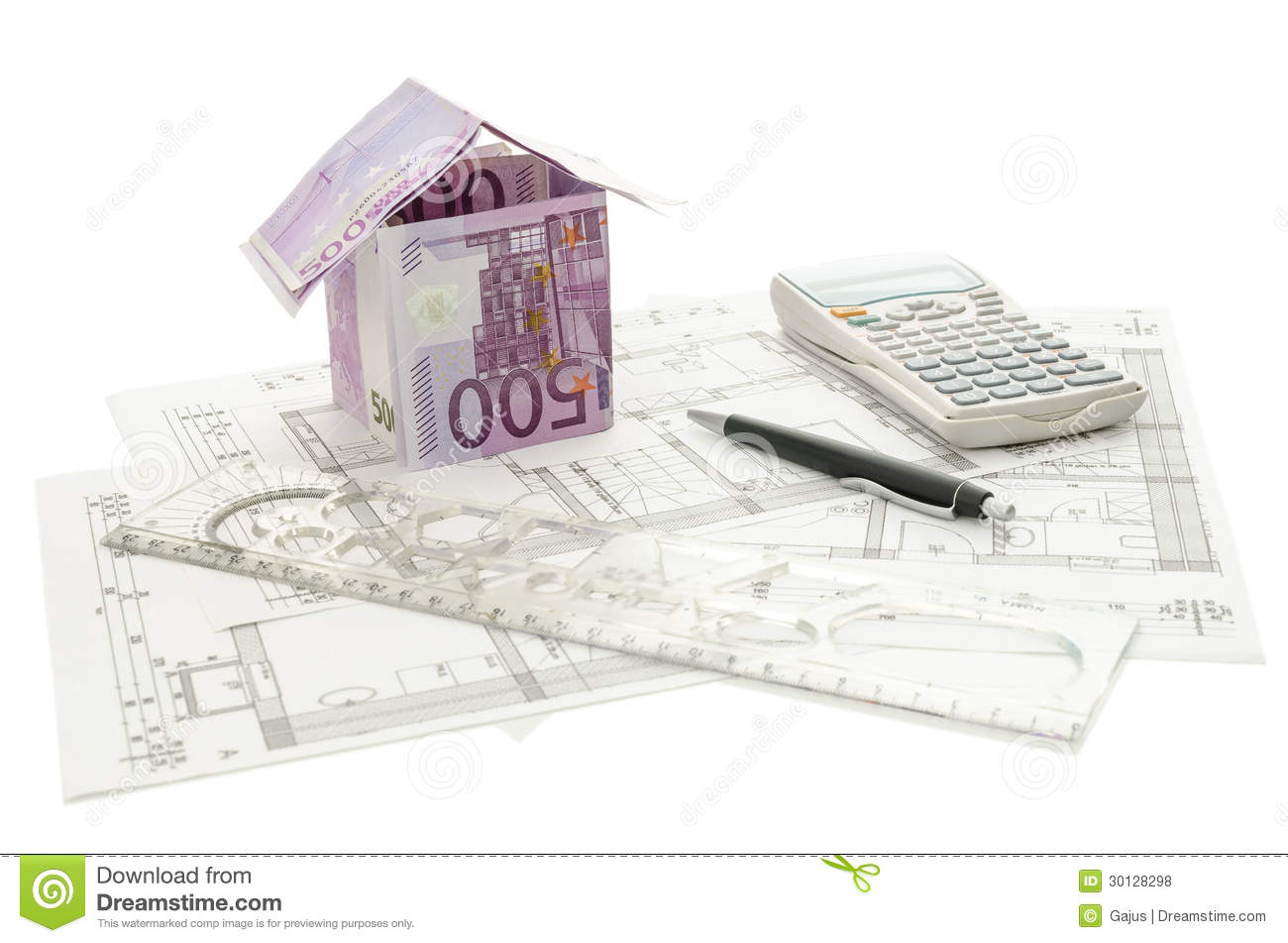 Money House On An Architectural Building Plan Royalty Free
