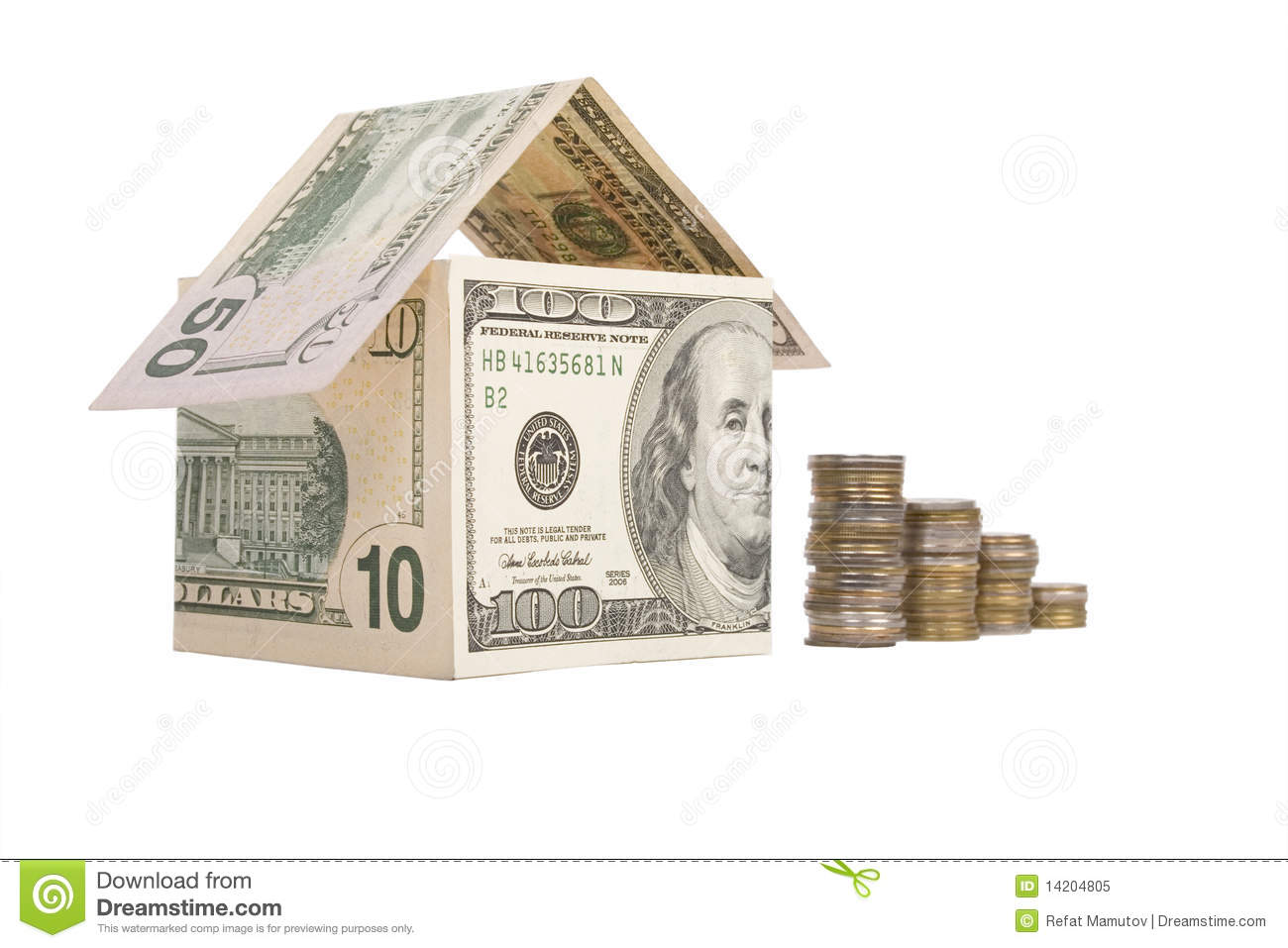 House made of money royalty free stock image for Free money to build a house
