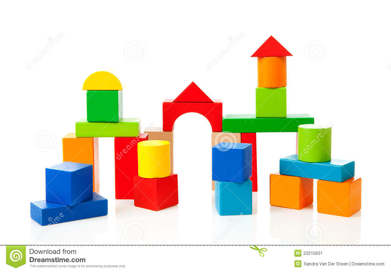House Made Out Of Colorful Wooden Building Blocks Stock ...